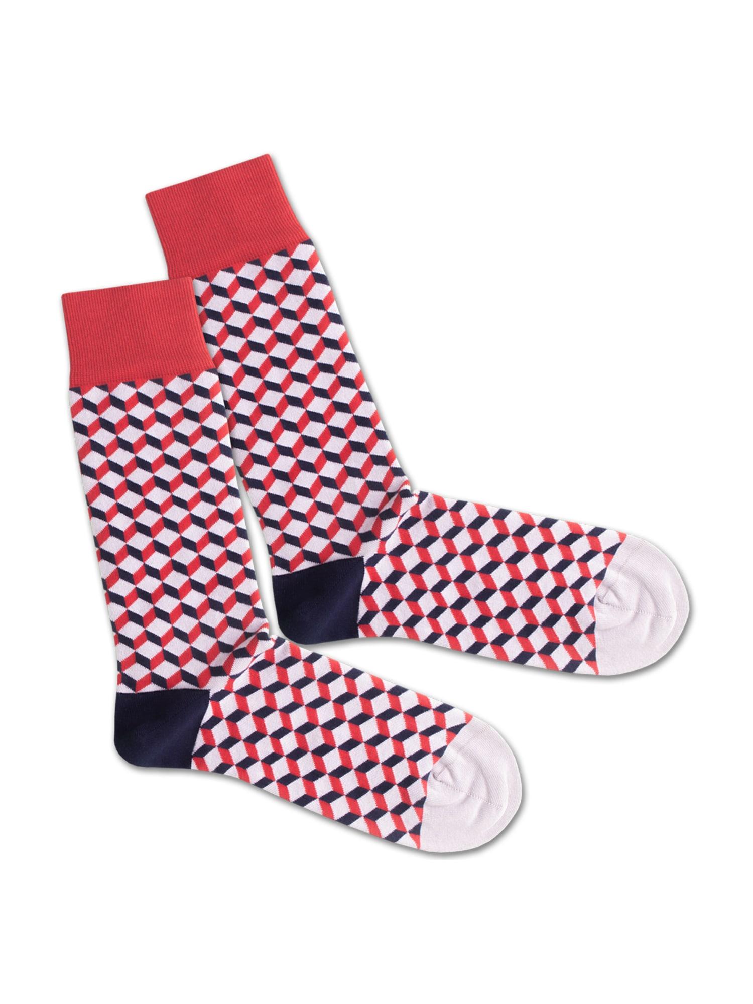 DillySocks Ponožky 'Royal Dice'  tmavě modrá / červená / bílá