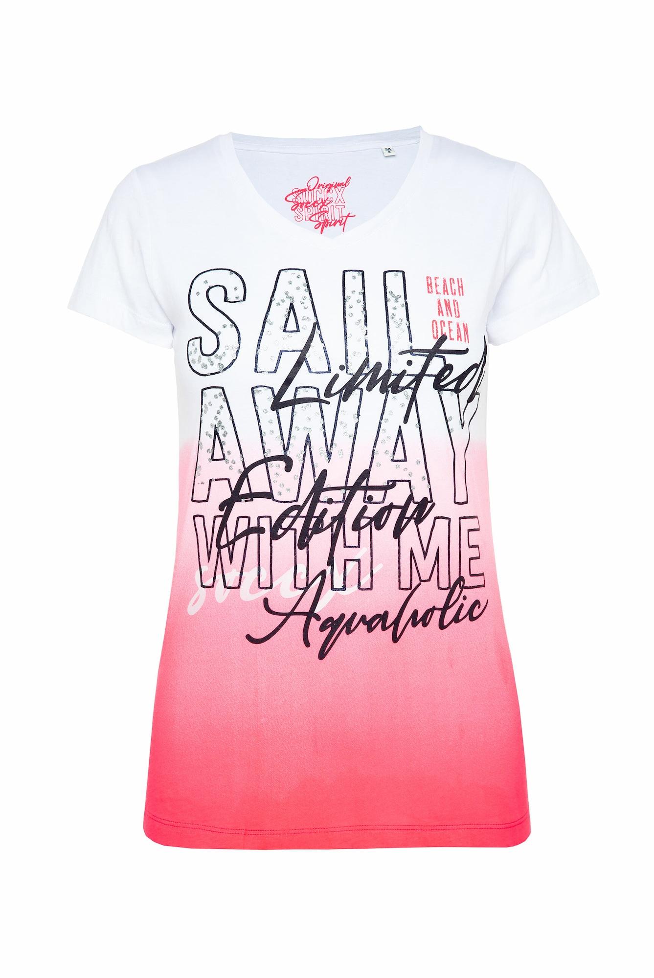 Soccx Marškinėliai rožinė / balta / koralų splava