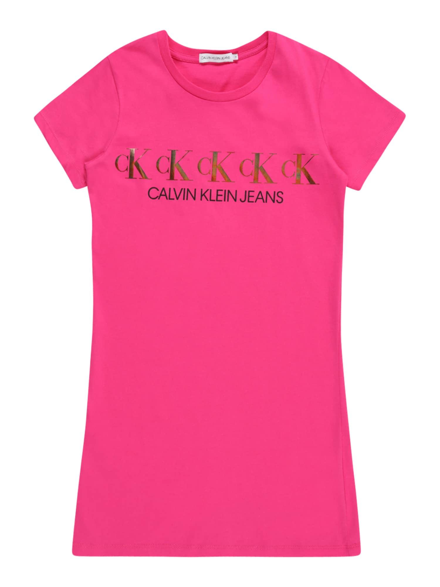 Calvin Klein Jeans Suknelė rausvai raudona / auksas / juoda