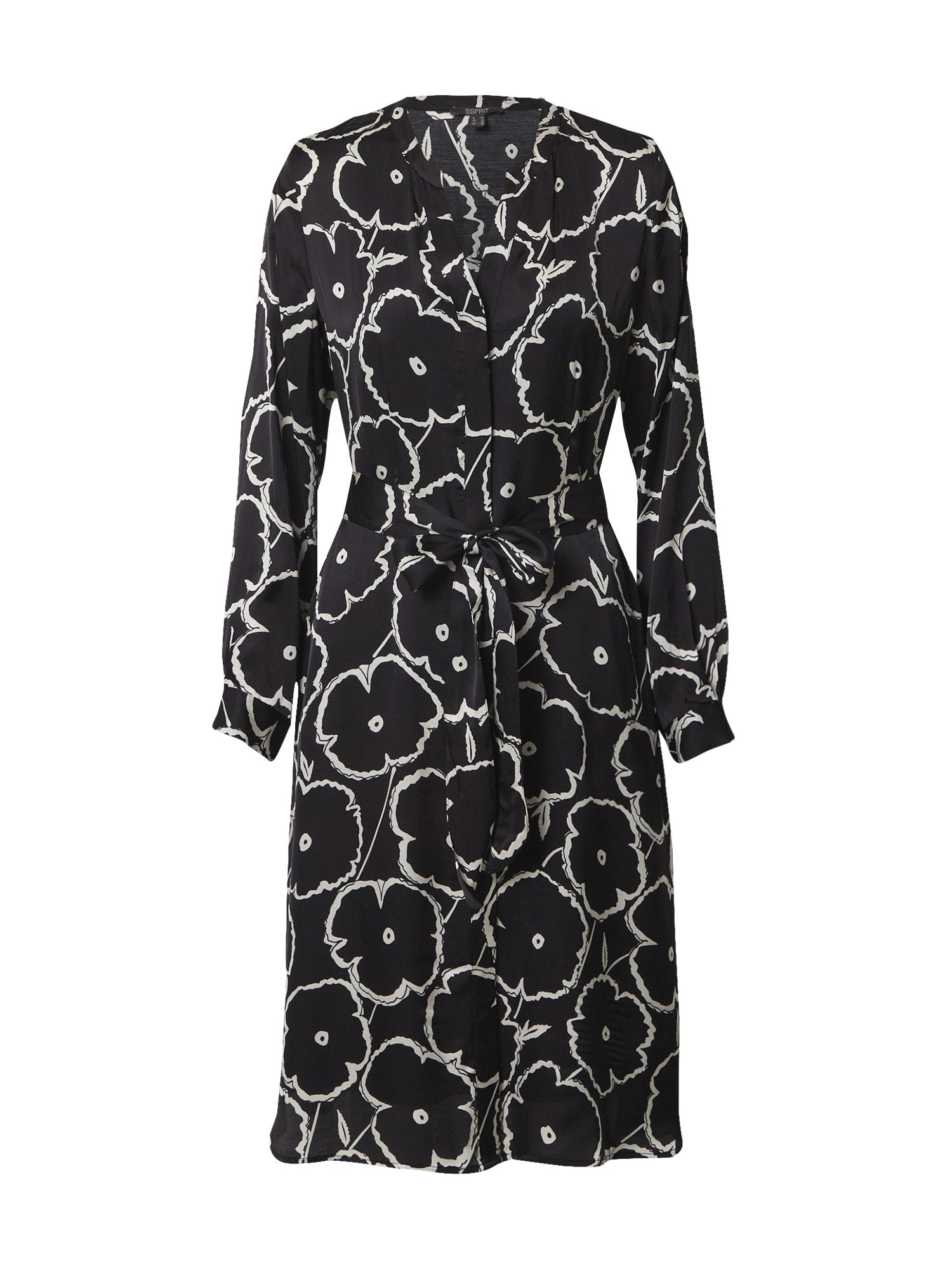 Esprit Collection Palaidinės tipo suknelė juoda / balta