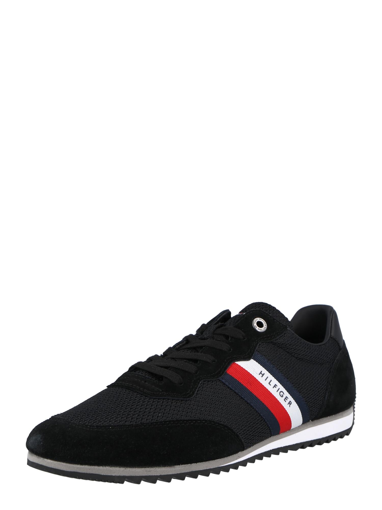TOMMY HILFIGER Nízke tenisky  čierna / biela / ohnivo červená / námornícka modrá