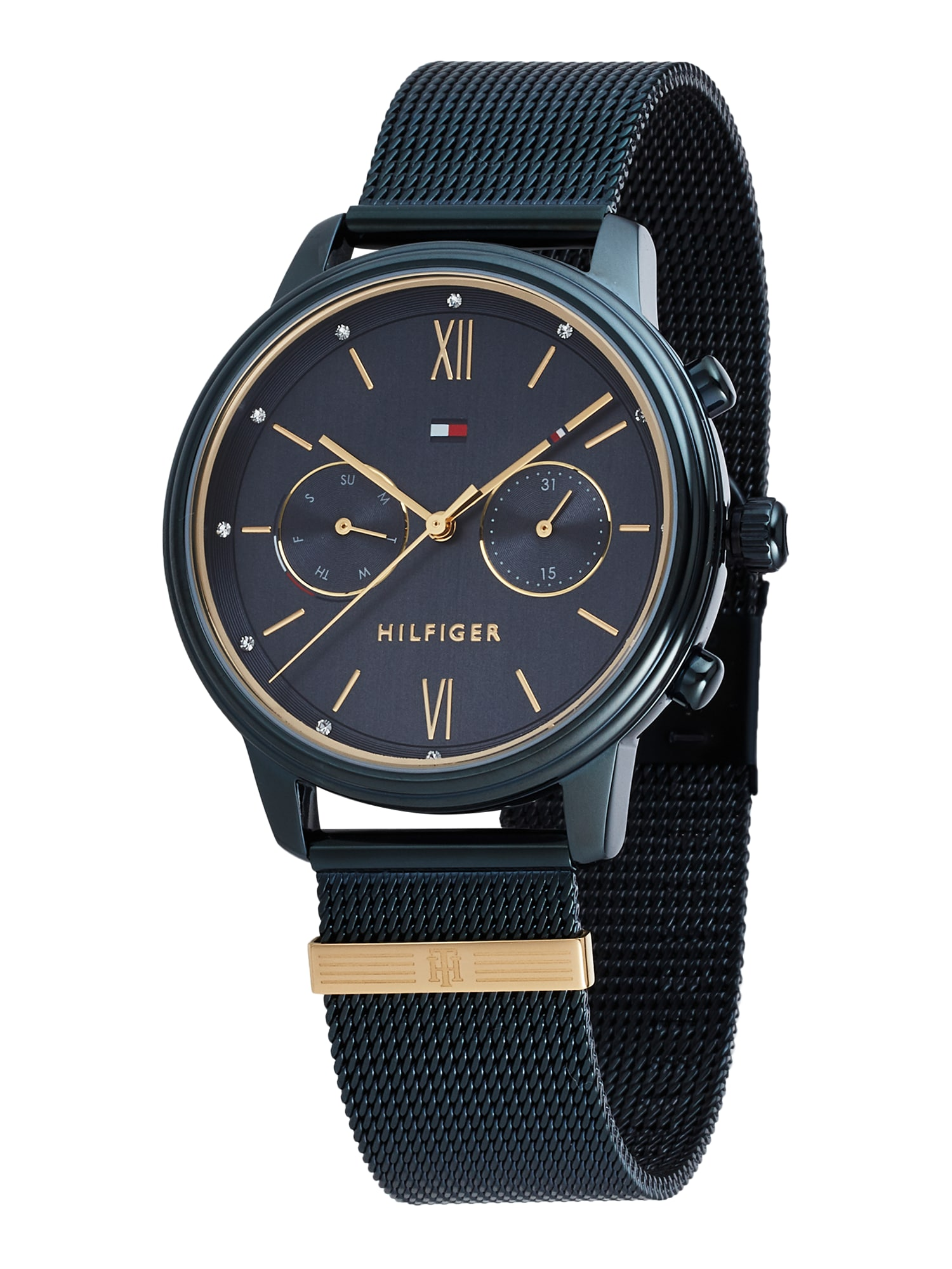 TOMMY HILFIGER Analoginis (įprasto dizaino) laikrodis tamsiai mėlyna / auksas