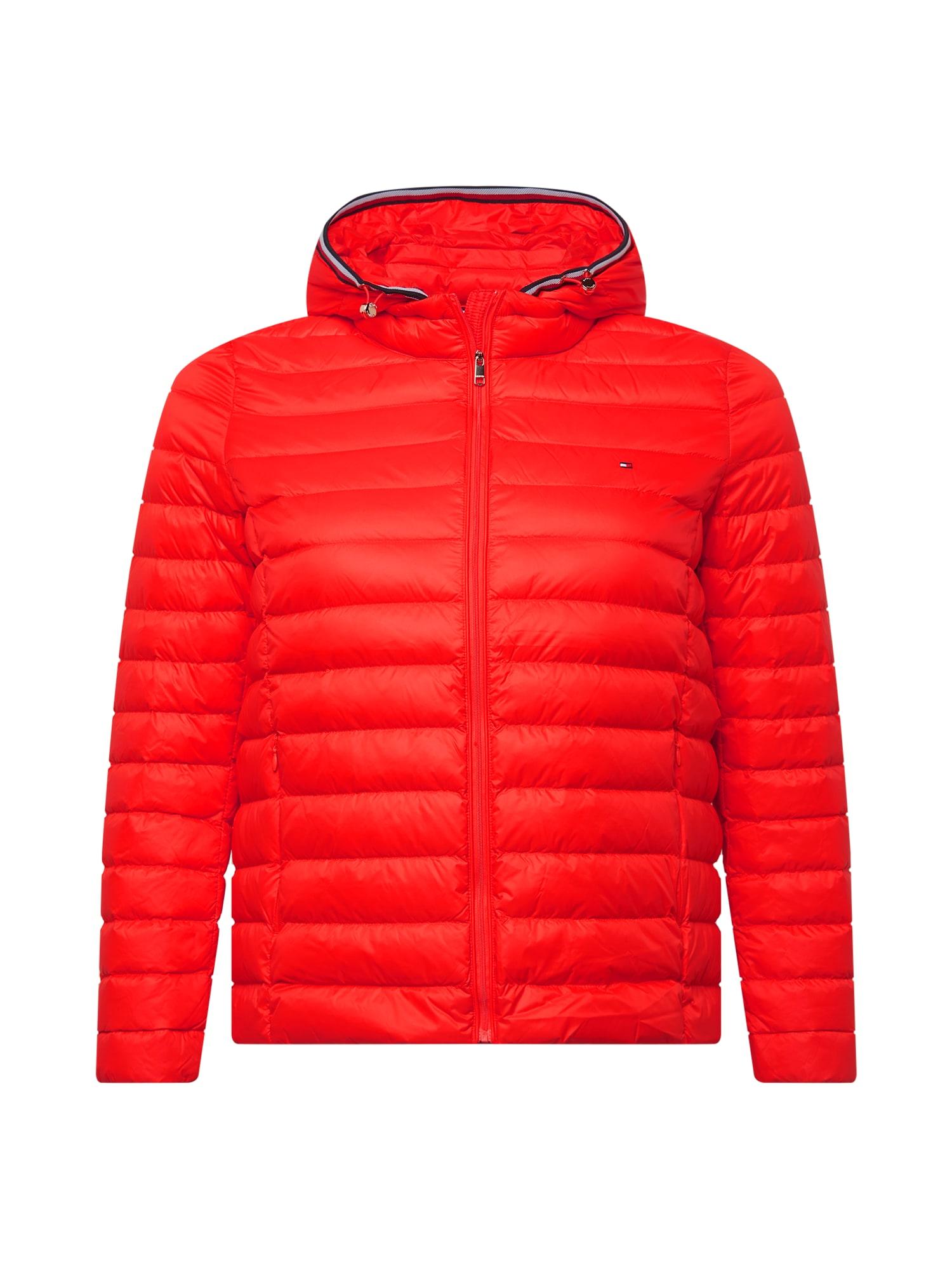 Tommy Hilfiger Curve Demisezoninė striukė oranžinė-raudona / balta / tamsiai mėlyna / raudona