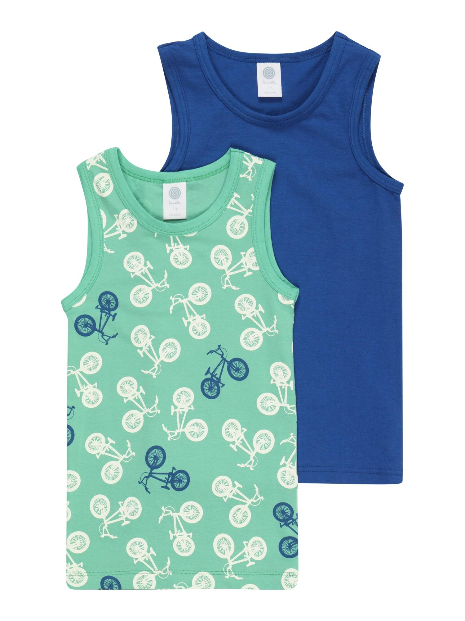 SANETTA Apatiniai marškinėliai mėtų spalva / balta / safyro