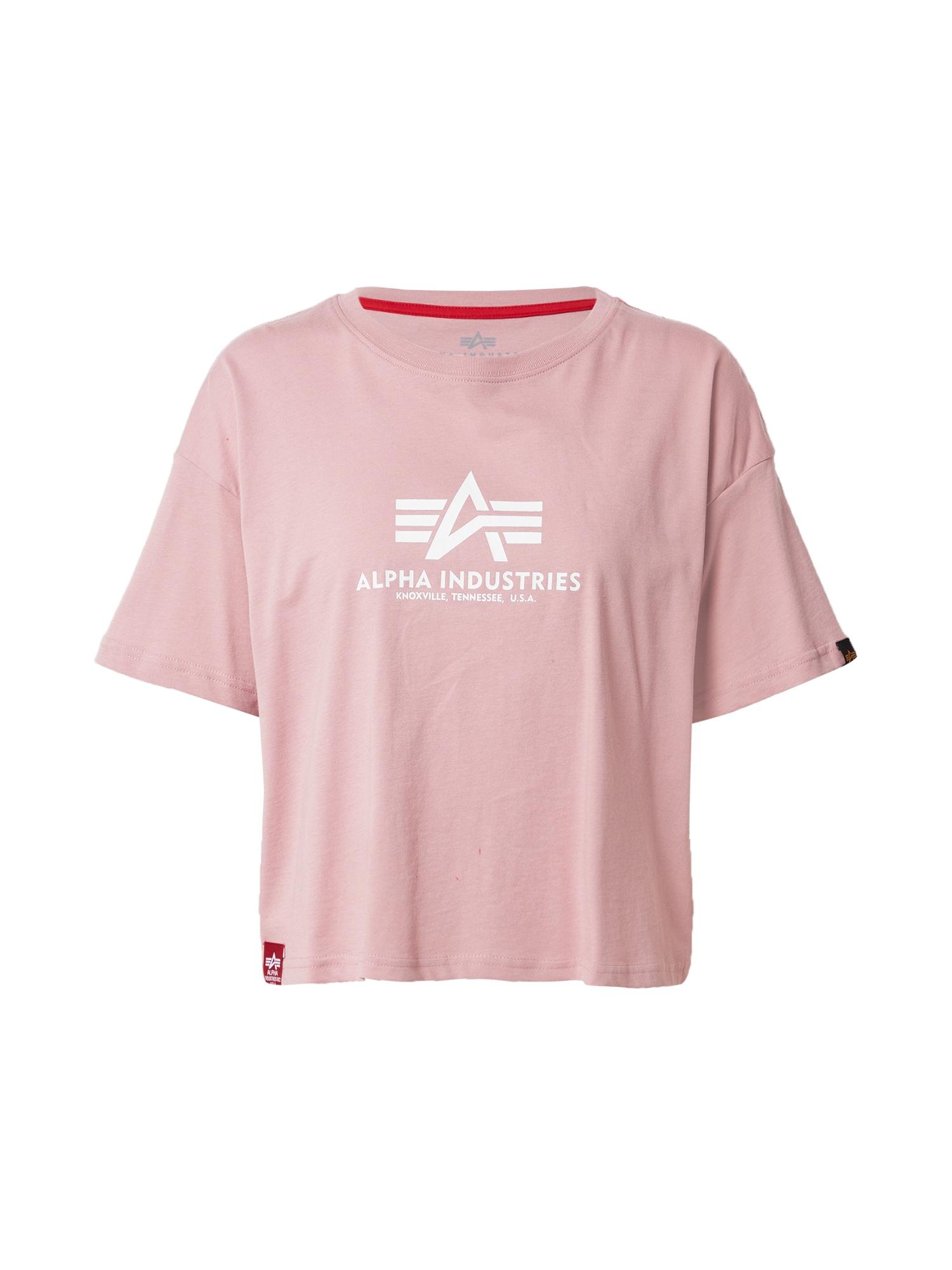 ALPHA INDUSTRIES Marškinėliai balta / šviesiai rožinė