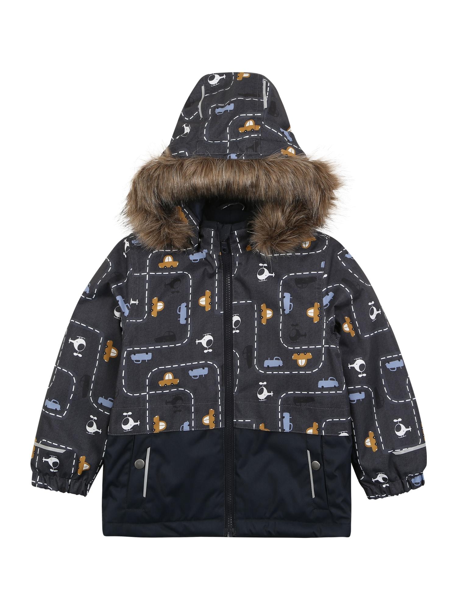 NAME IT Zimná bunda 'NMMSNOW08'  tmavomodrá / biela / béžová