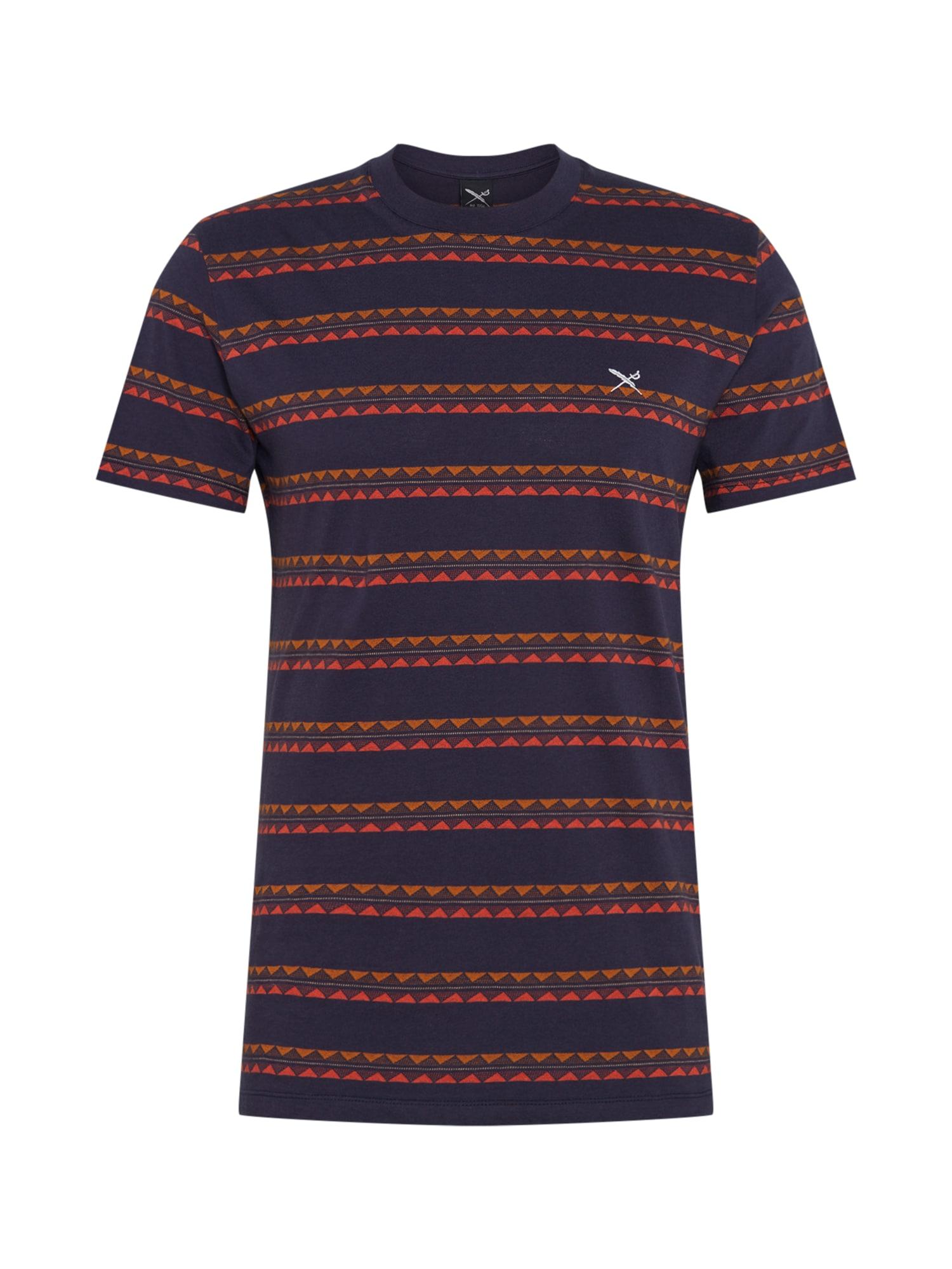 Iriedaily Marškinėliai 'Monte Noe' oranžinė / tamsiai mėlyna / rusvai oranžinė