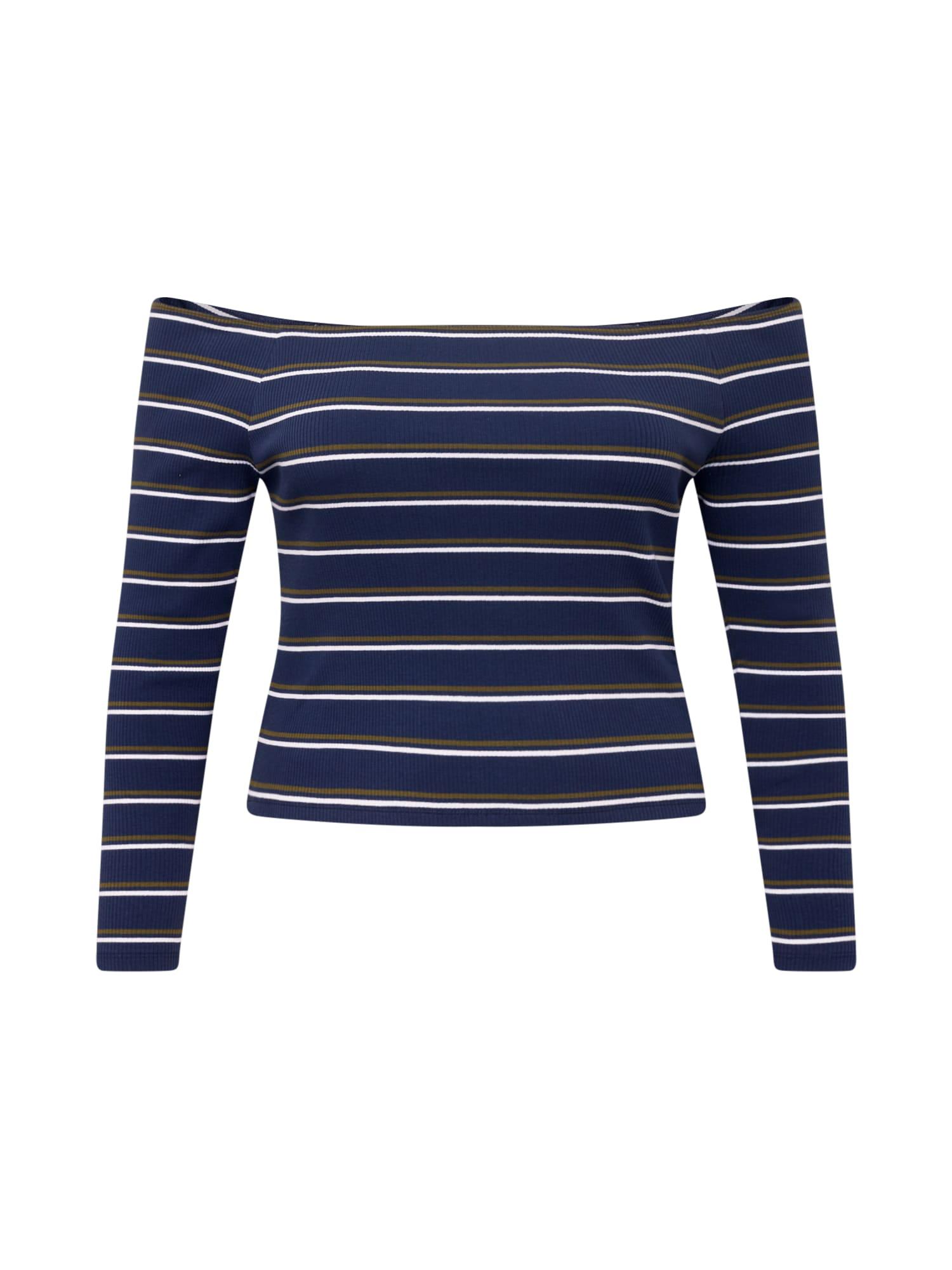 Tommy Jeans Curve Marškinėliai tamsiai mėlyna / balta / rusvai žalia