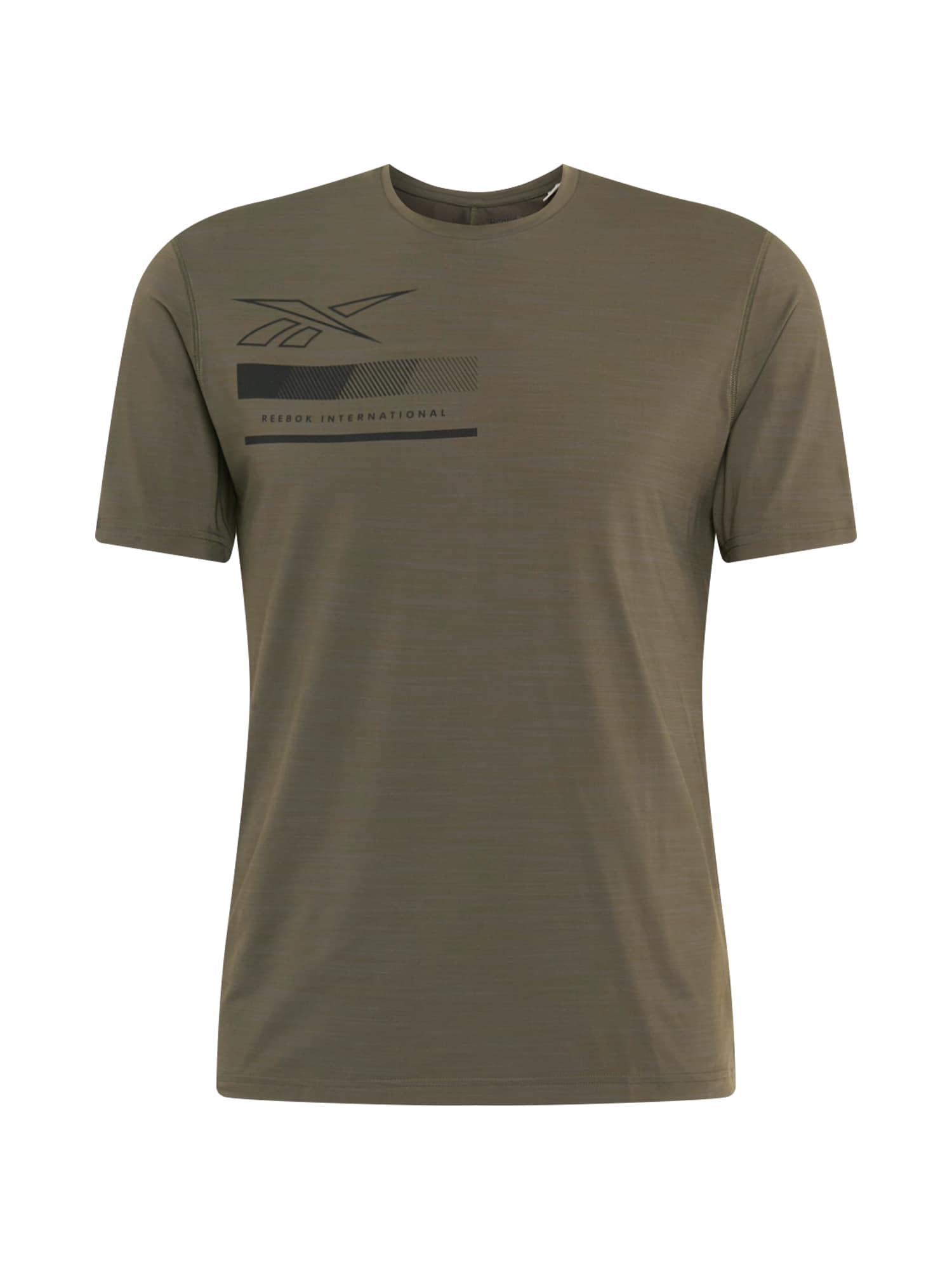 REEBOK Funkční tričko  olivová / černá