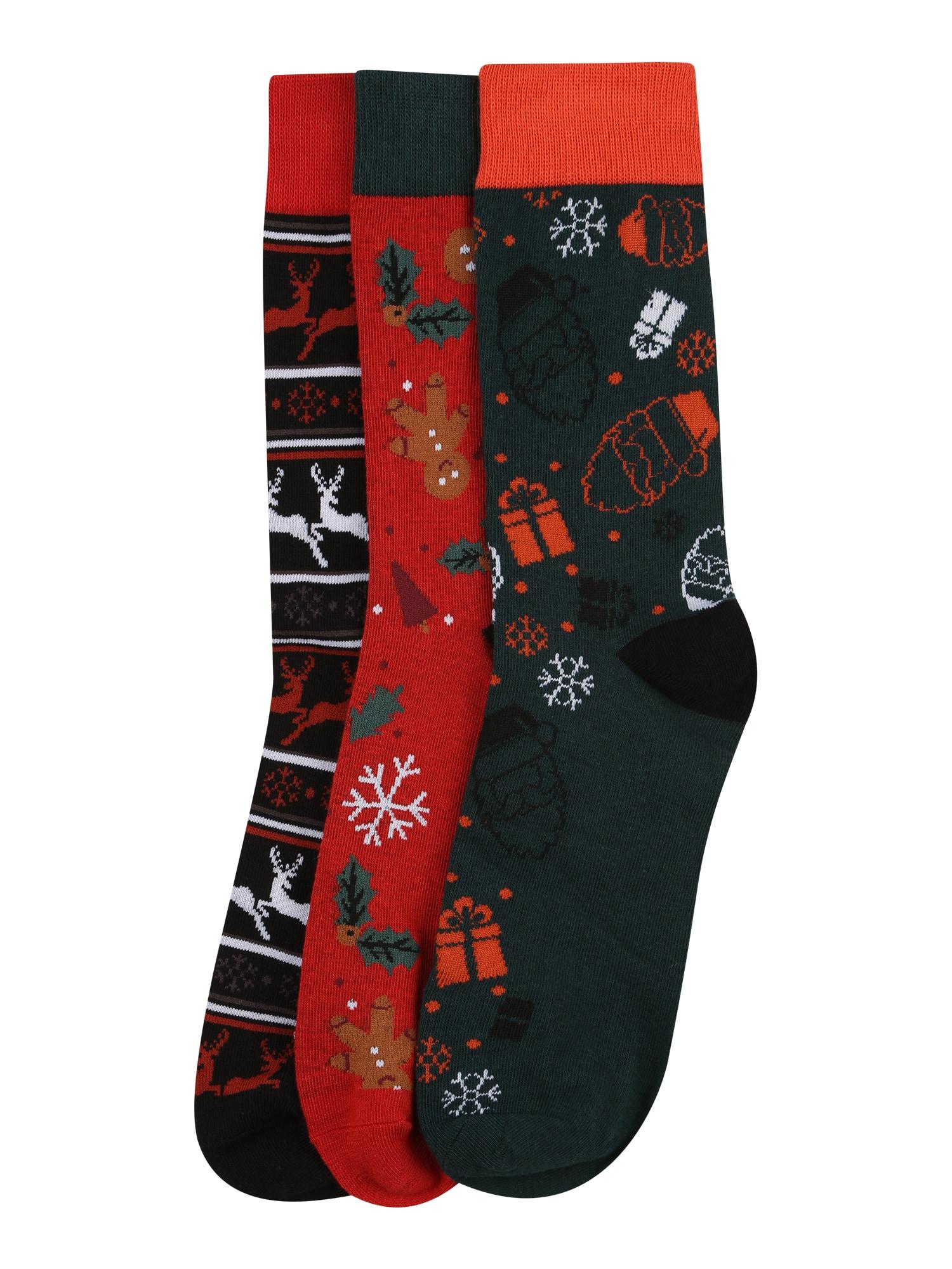 JACK & JONES Ponožky 'REINDEER'  tmavě šedá / námořnická modř / tmavě červená / oranžově červená