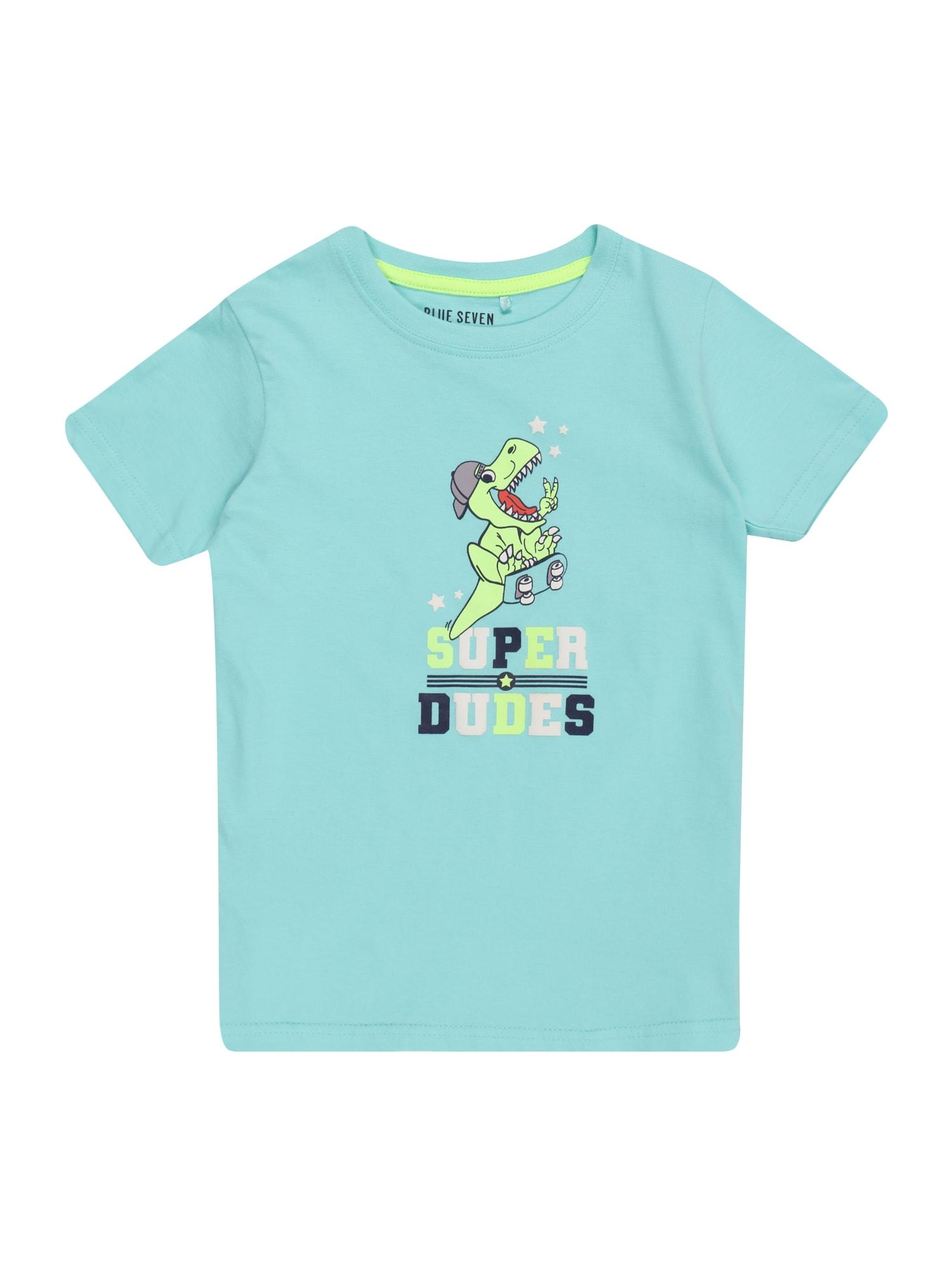 BLUE SEVEN Marškinėliai turkio spalva / šviesiai žalia / balta / tamsiai mėlyna