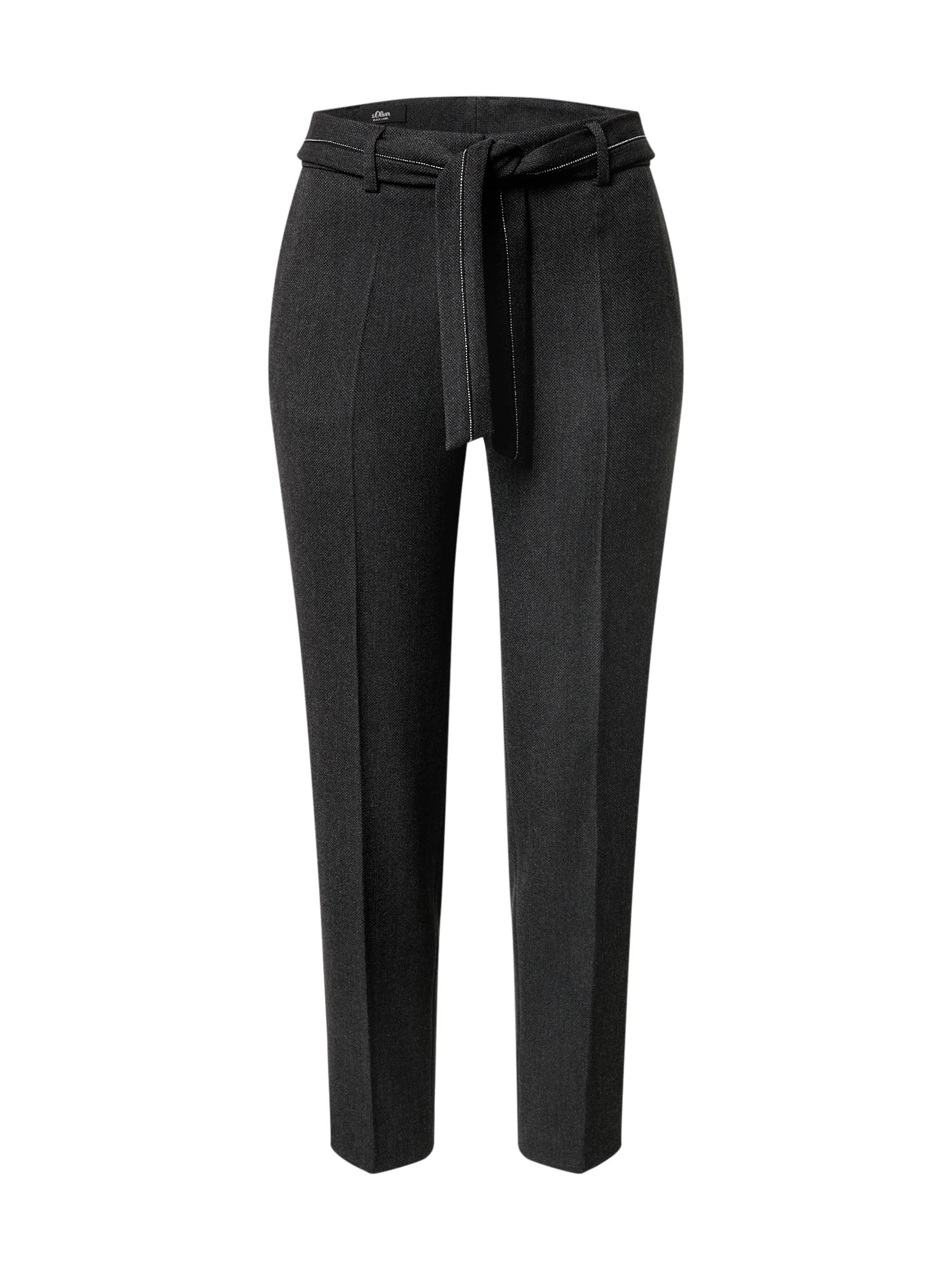 s.Oliver BLACK LABEL Kelnės su kantu tamsiai pilka