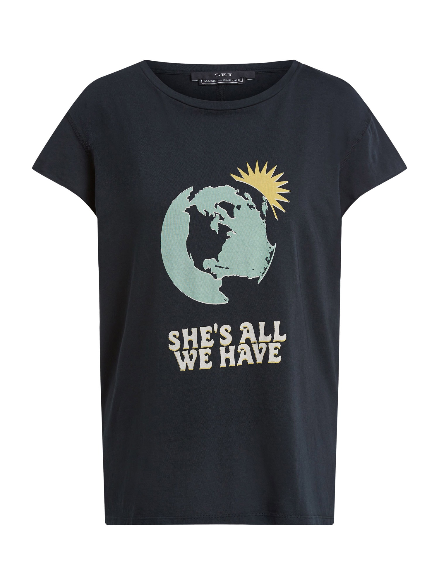 SET Marškinėliai juoda / pastelinė žalia / geltona / balta