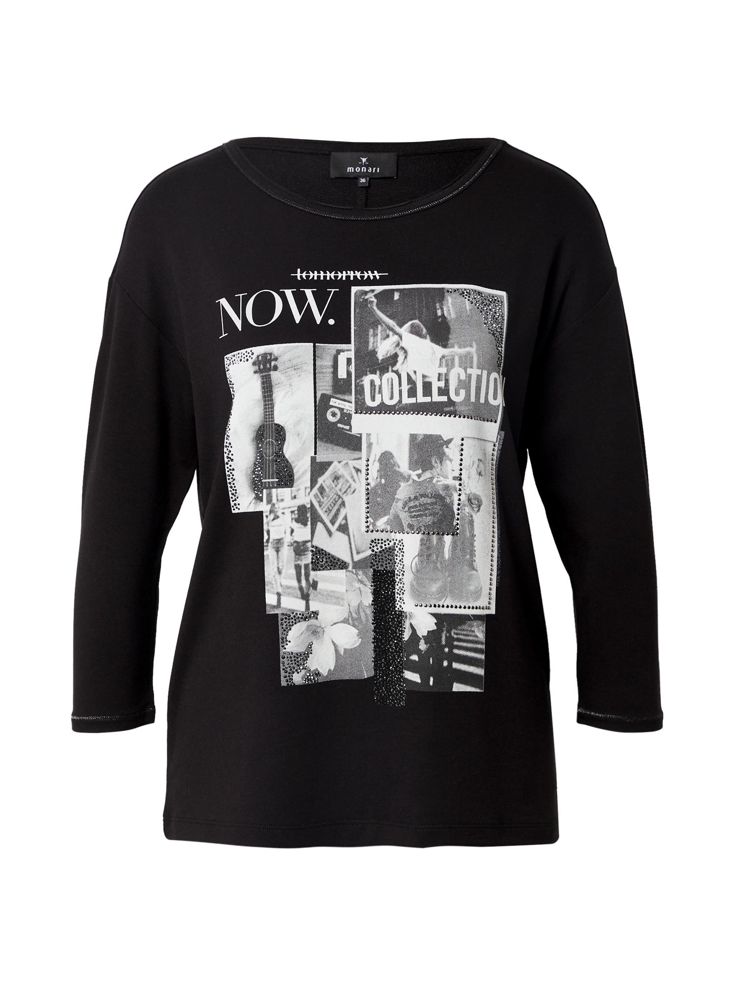 monari Marškinėliai juoda / pilka / balta