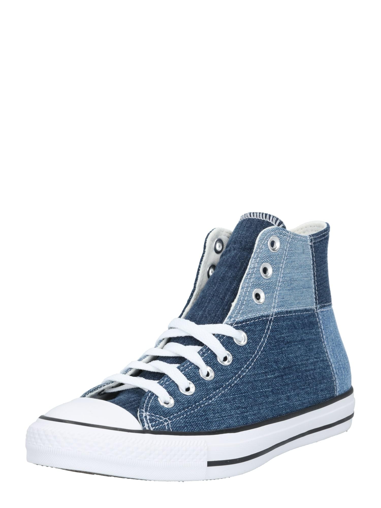 CONVERSE Sportbačiai su auliuku balta / tamsiai (džinso) mėlyna / mėlyna dūmų spalva