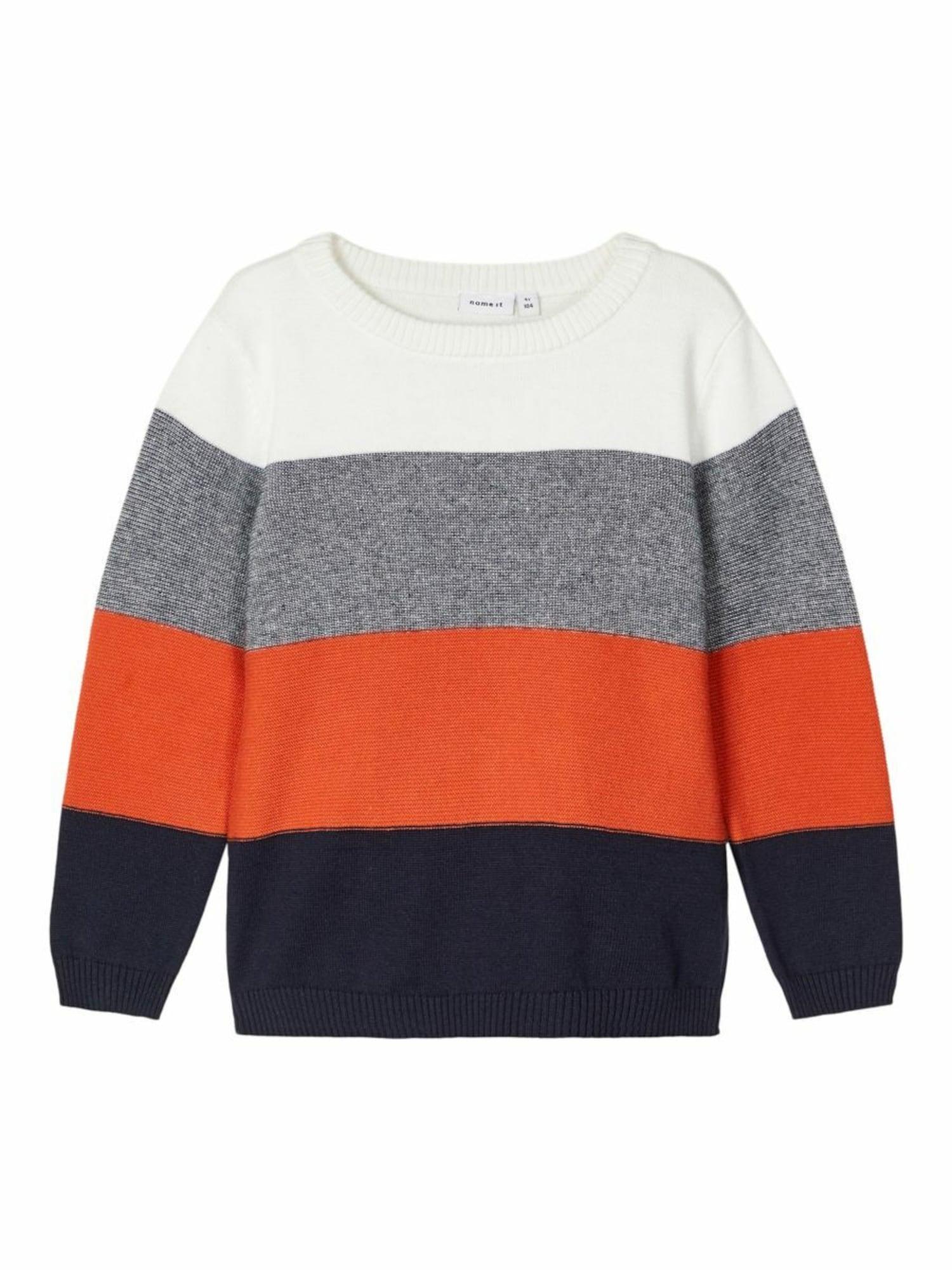 NAME IT Megztinis tamsiai mėlyna / balta / neoninė oranžinė