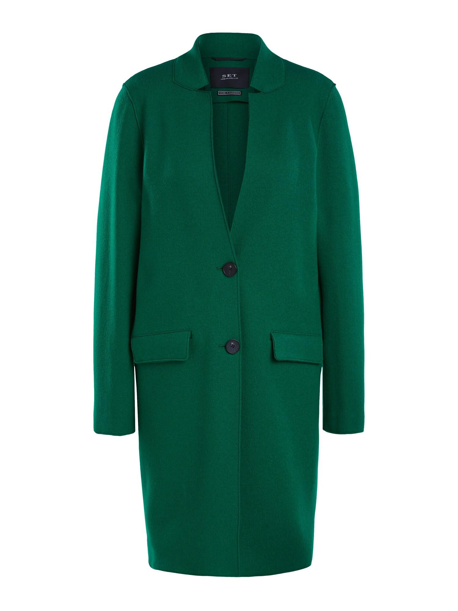 SET Demisezoninis paltas smaragdinė spalva