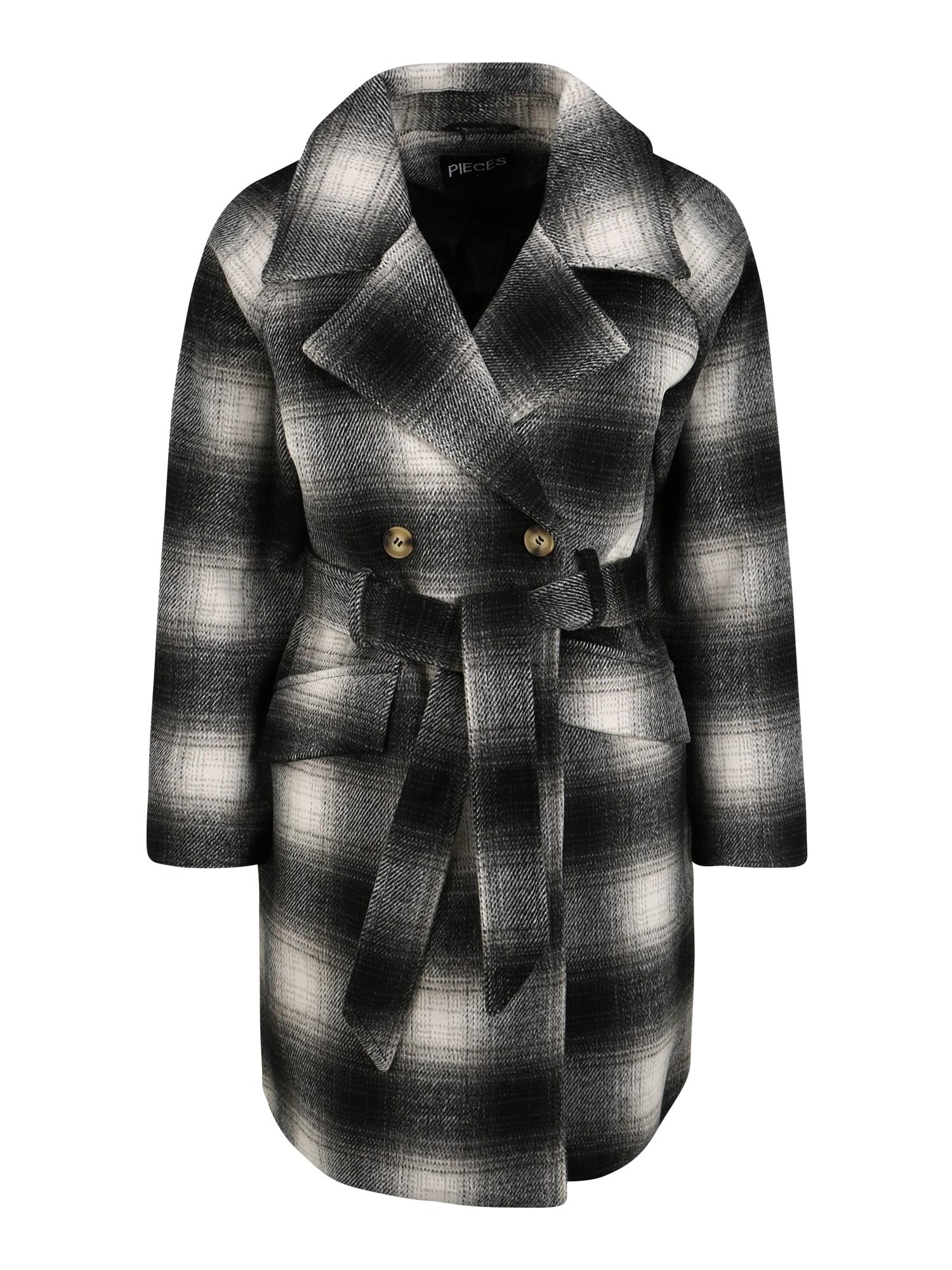 Pieces (Petite) Přechodný kabát 'Siena'  černá / bílá