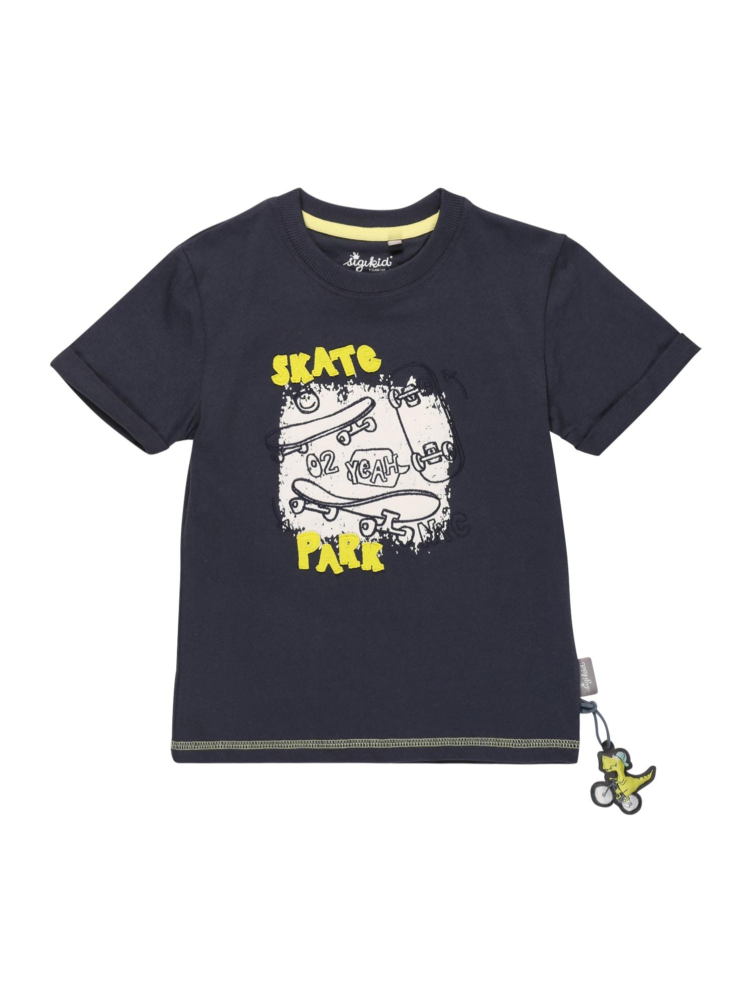 SIGIKID Marškinėliai tamsiai mėlyna / balta / geltona
