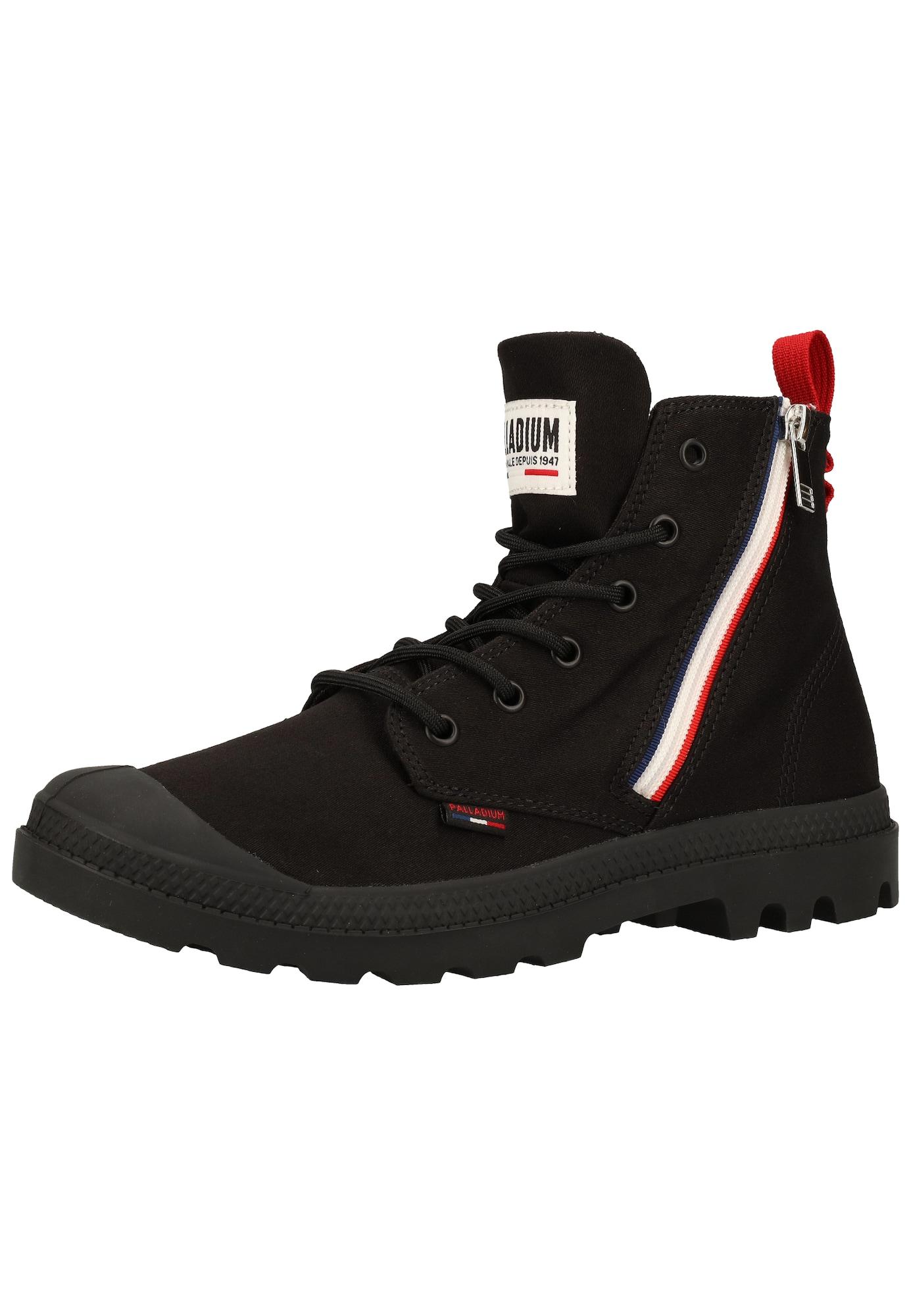 Palladium Suvarstomieji kulkšnis dengiantys batai juoda / balta / raudona