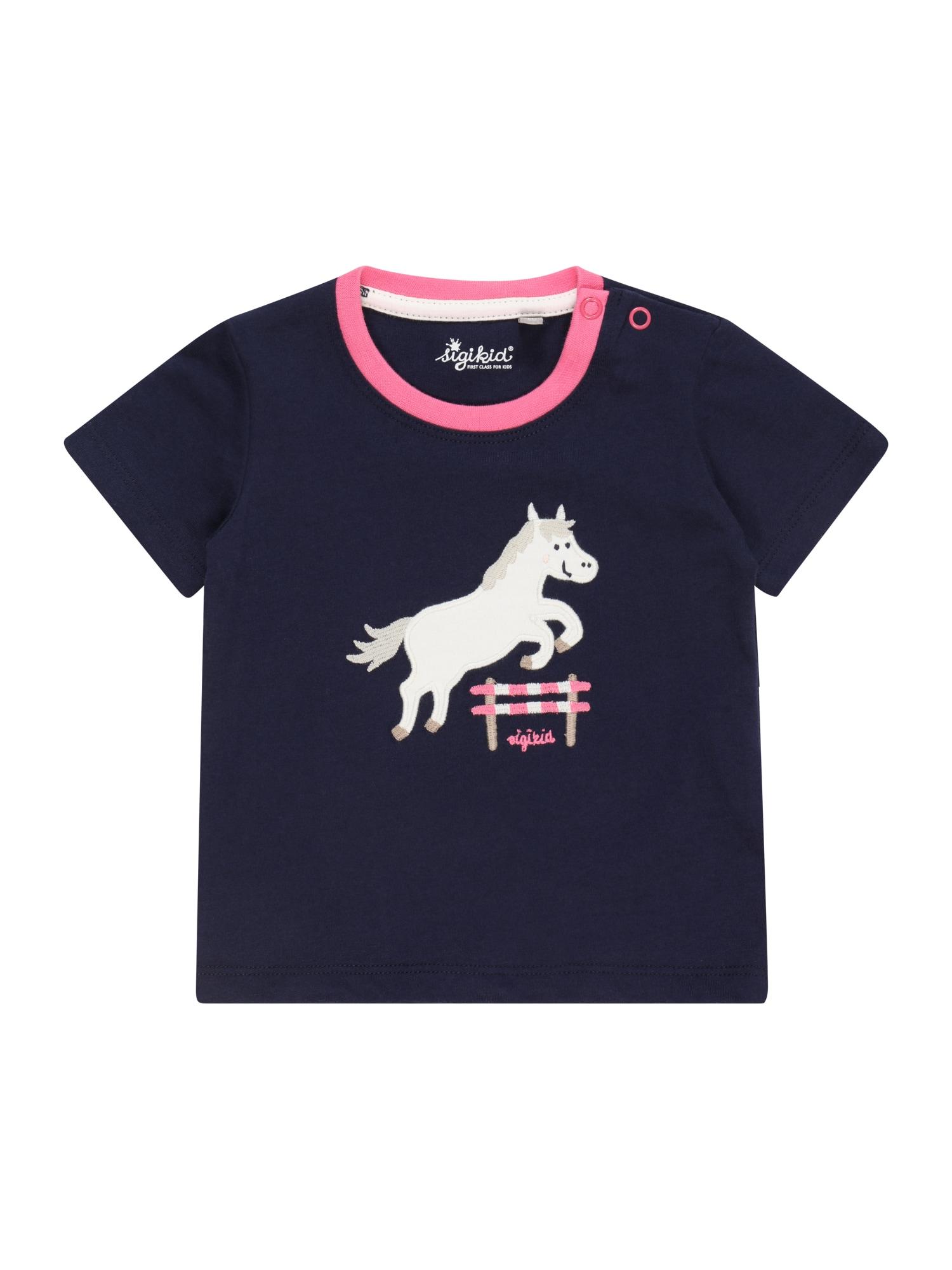 SIGIKID Marškinėliai tamsiai mėlyna / balta / pilka / rožinė