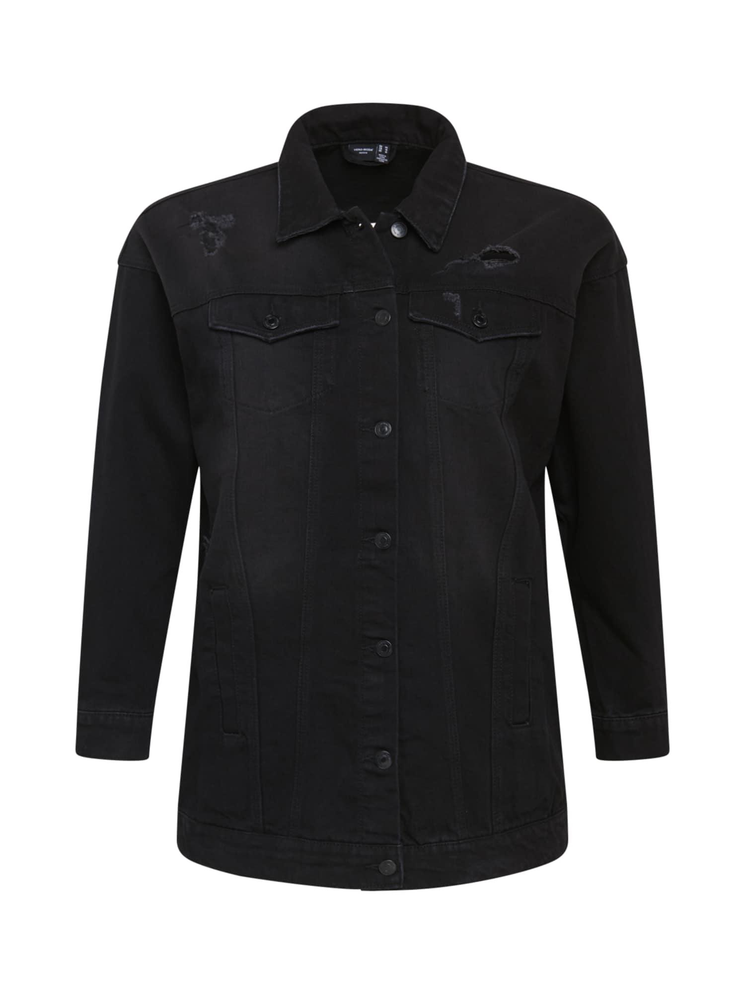 Vero Moda Curve Demisezoninė striukė juodo džinso spalva