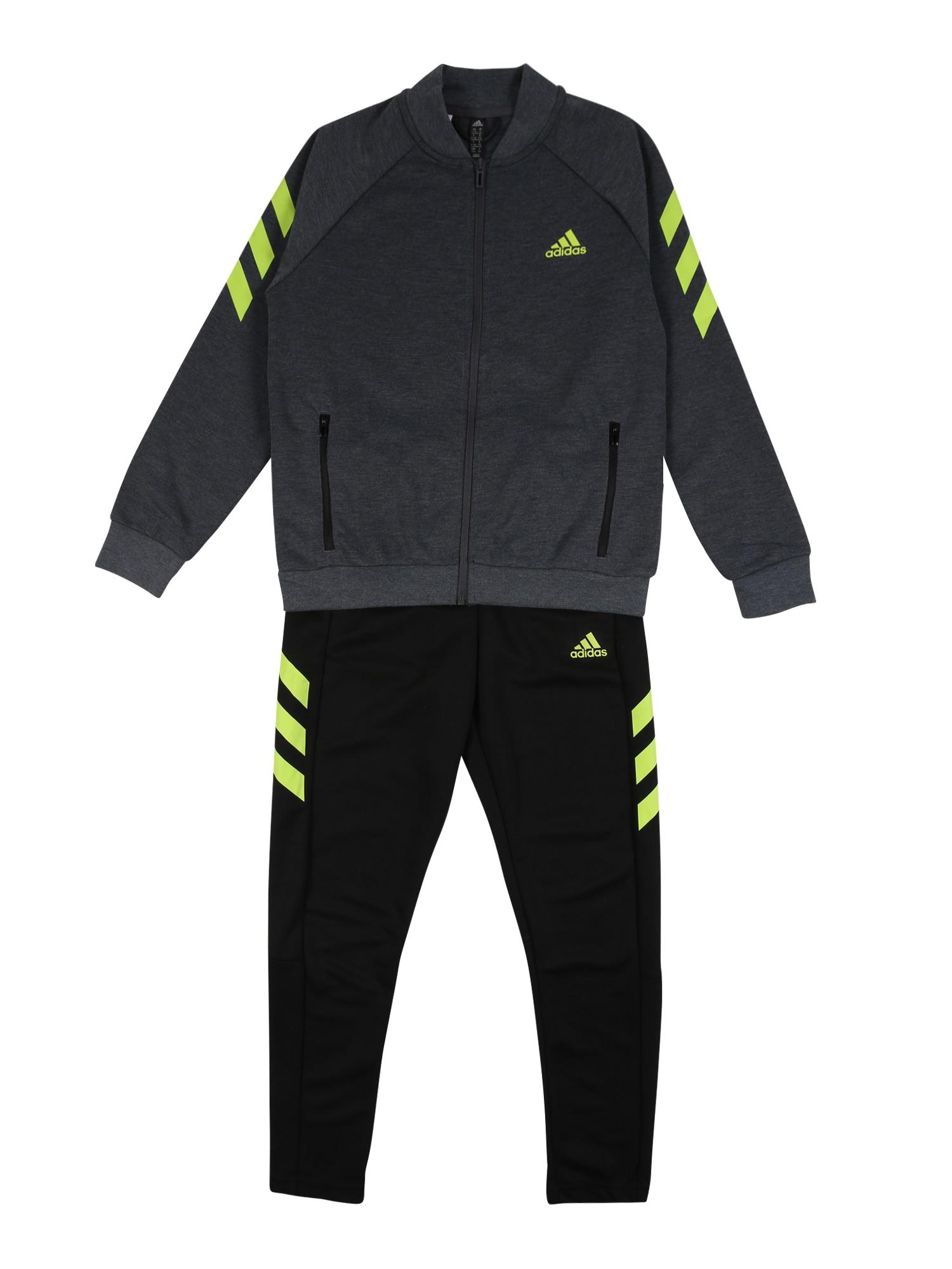 ADIDAS PERFORMANCE Športový úbor  čierna / sivá / neónovo žltá