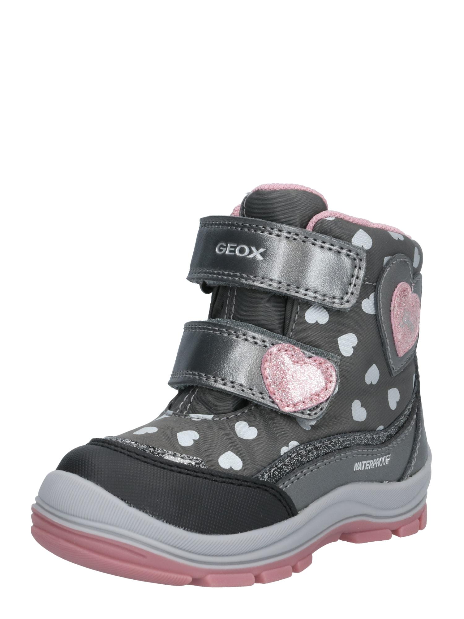 GEOX Kids Sniego batai pilka / balta / rožinė