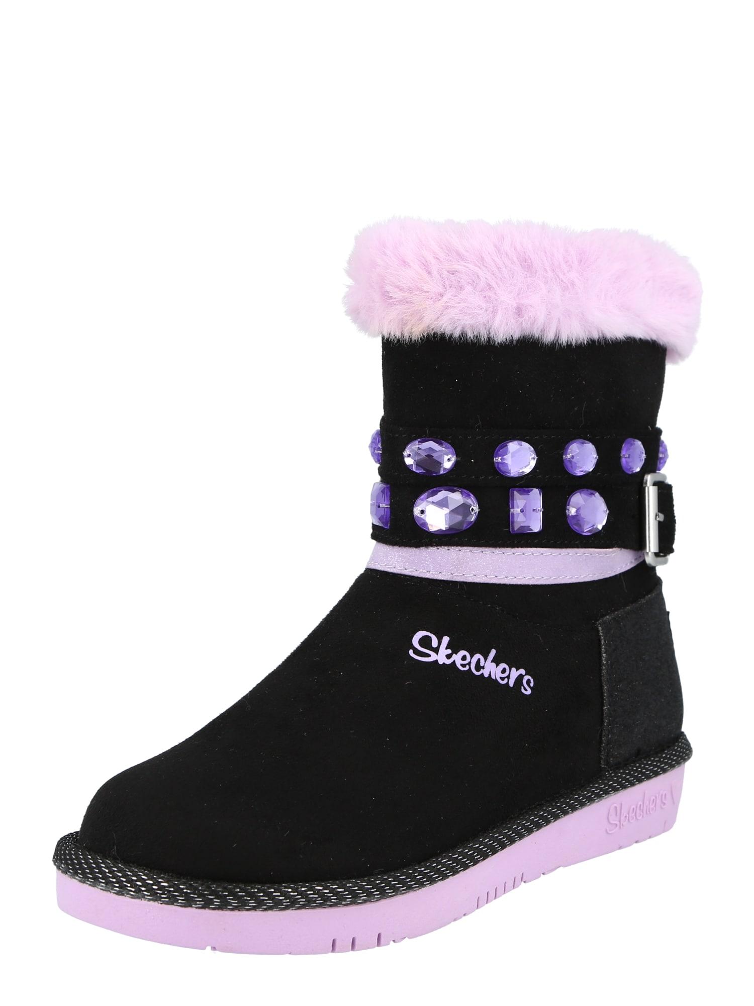 SKECHERS Sniego batai juoda / levandų spalva / purpurinė
