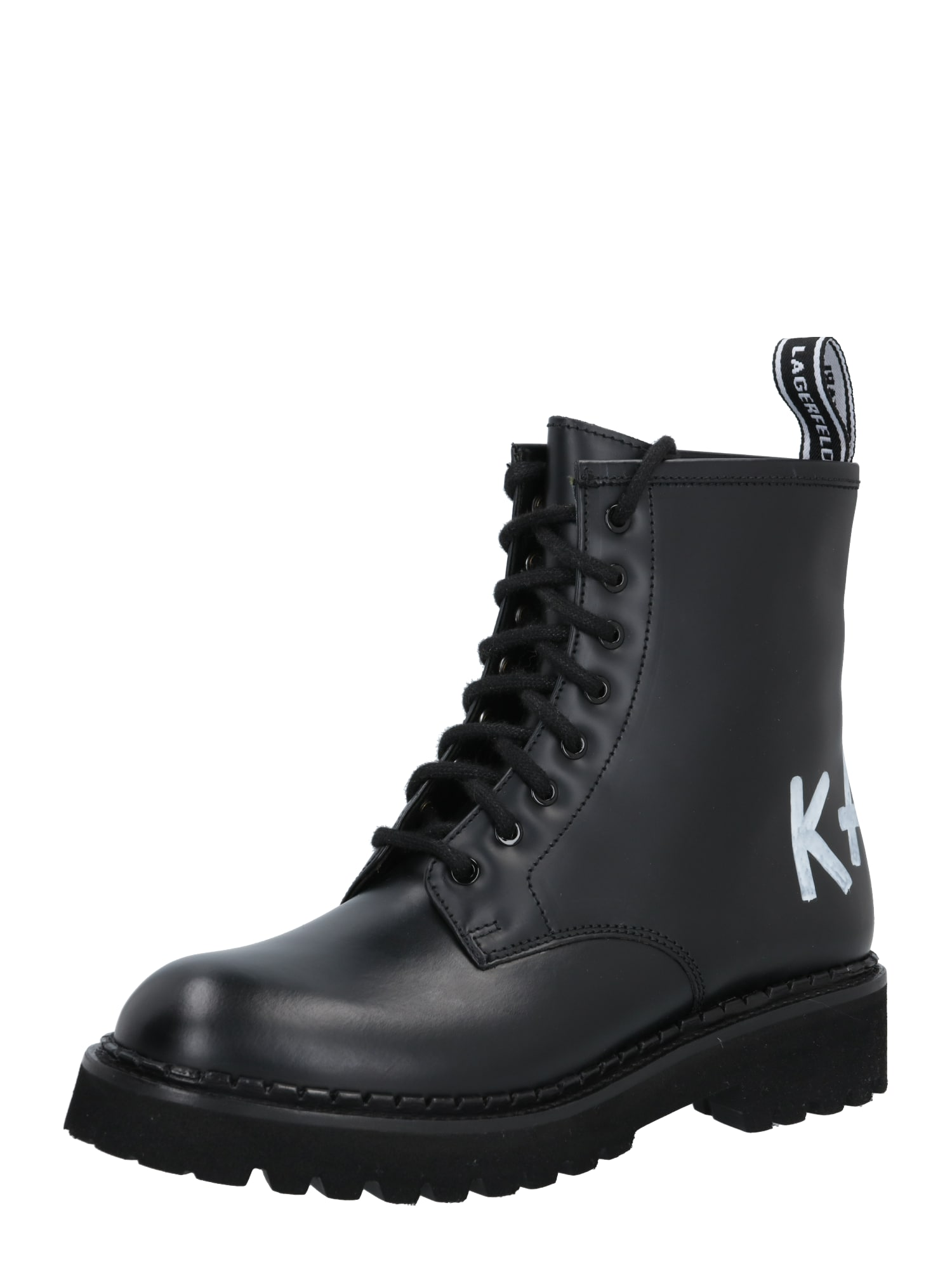 Karl Lagerfeld Suvarstomieji kulkšnis dengiantys batai juoda / balta