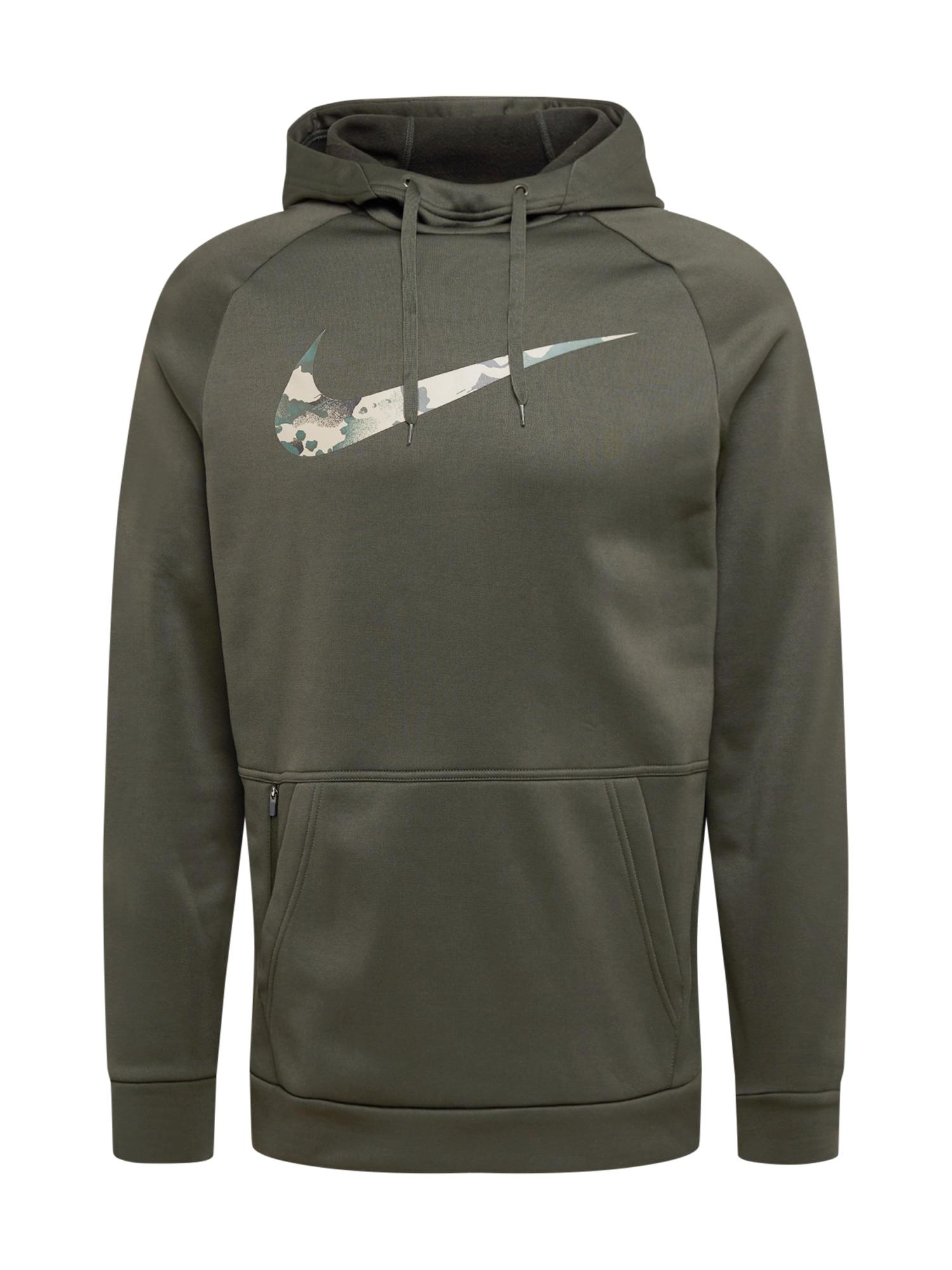 NIKE Sportinio tipo megztinis 'Therma' tamsiai žalia / smėlio
