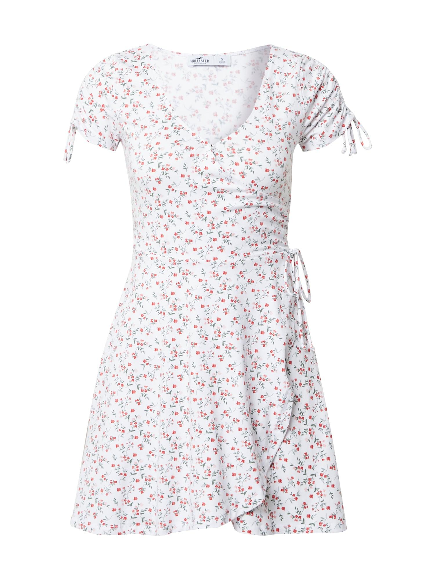 HOLLISTER Vasarinė suknelė balta / raudona / pastelinė žalia