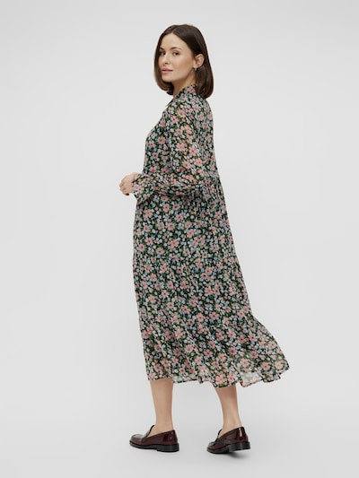 Pieces Viana Hochgeschlossenes Midi-Kleid mit Blumenmuster