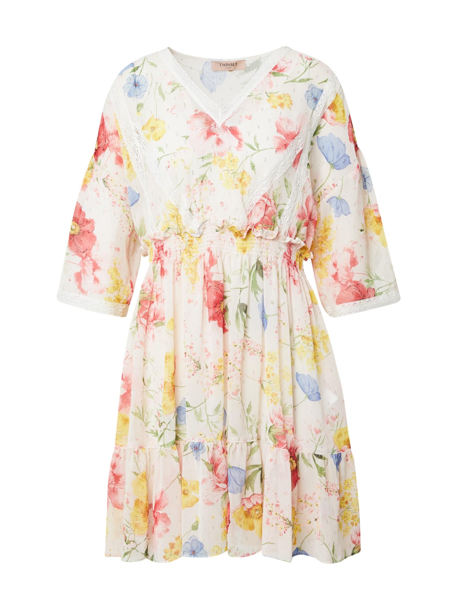 Twinset Vasarinė suknelė kūno spalva / balta / mėlyna dūmų spalva / geltona / mišrios spalvos