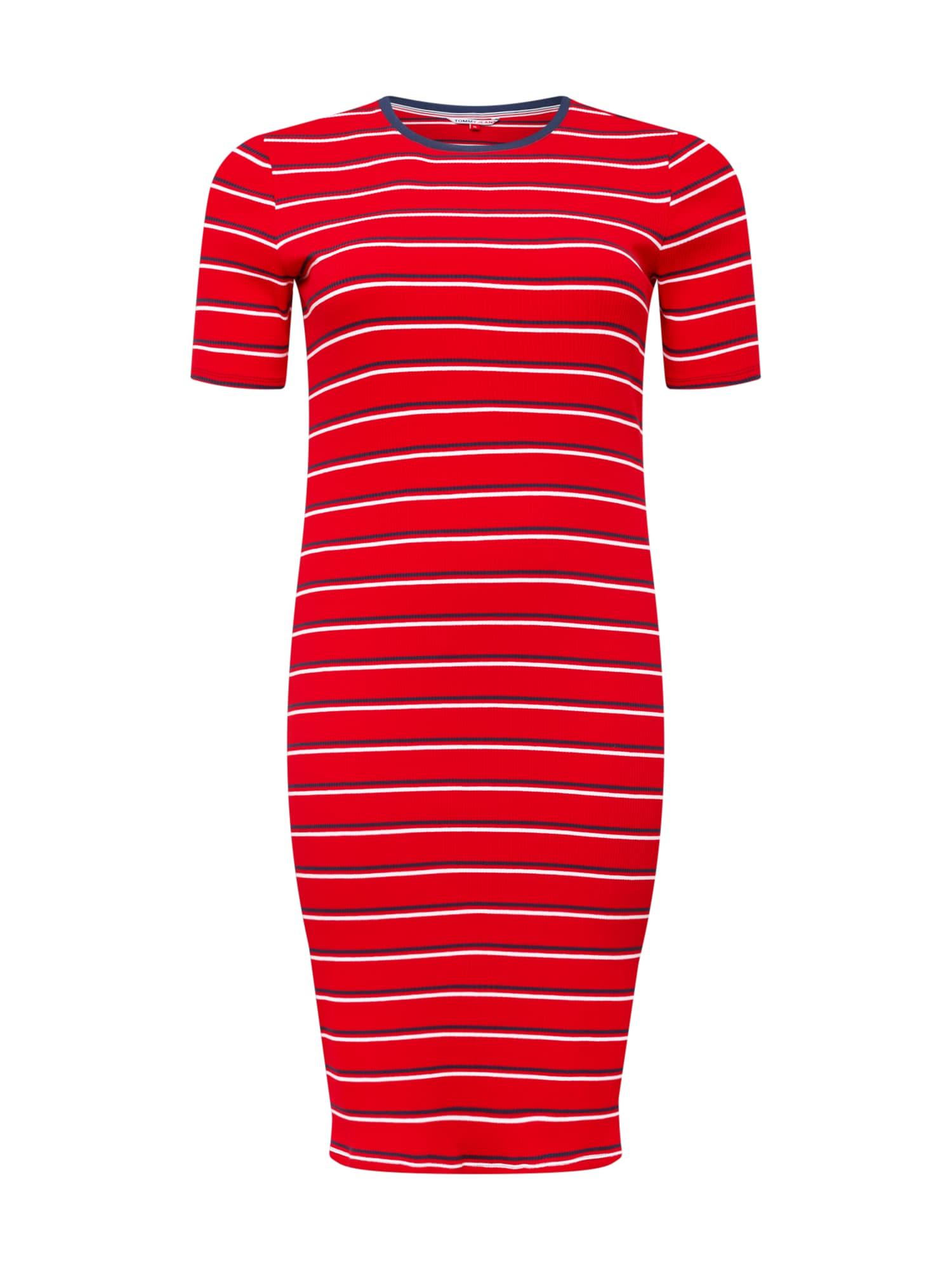 Tommy Jeans Curve Suknelė raudona / balta / tamsiai mėlyna