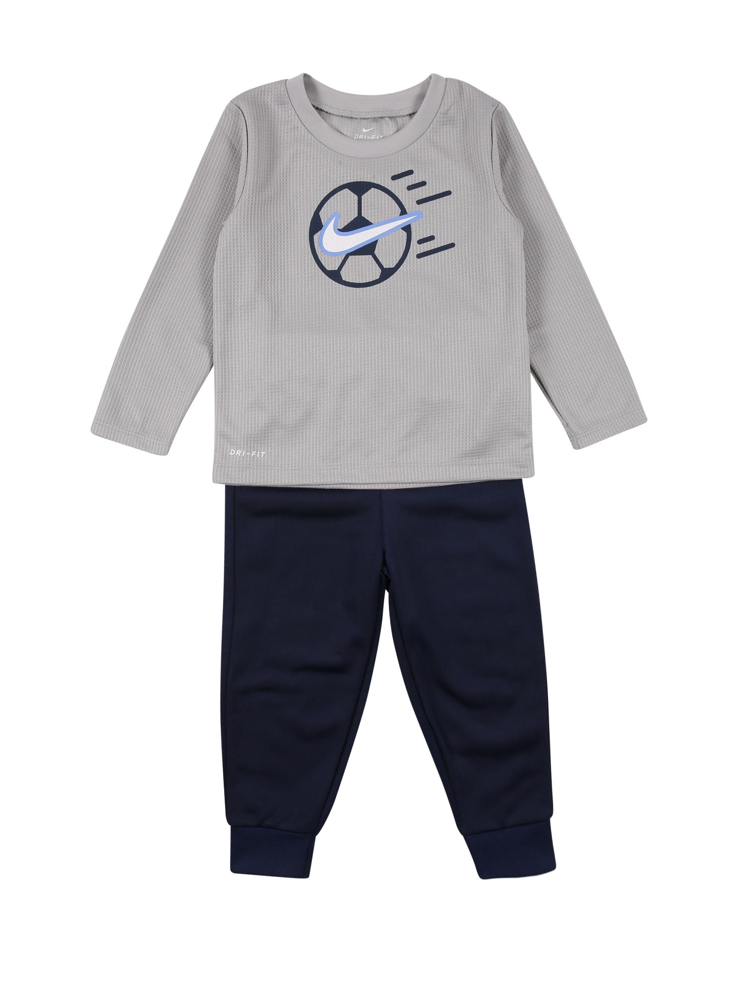 NIKE Sportinis kostiumas pilka / tamsiai mėlyna / balta