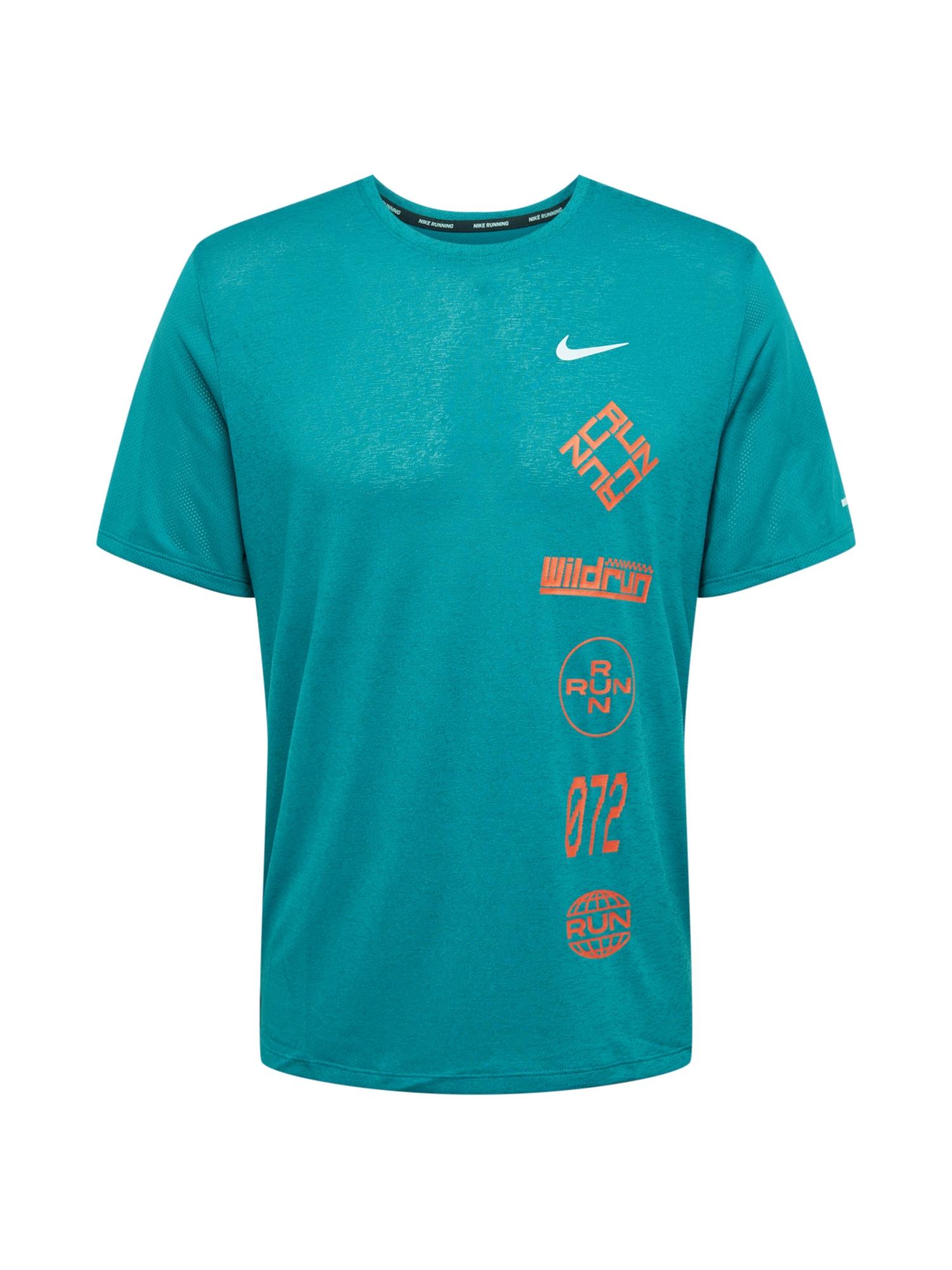 NIKE Funkční tričko 'Miler Wild'  tyrkysová / oranžová / bílá