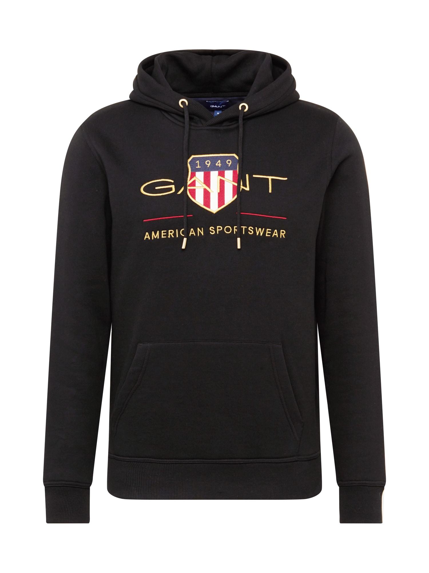 GANT Megztinis be užsegimo juoda / aukso geltonumo spalva / balta / raudona