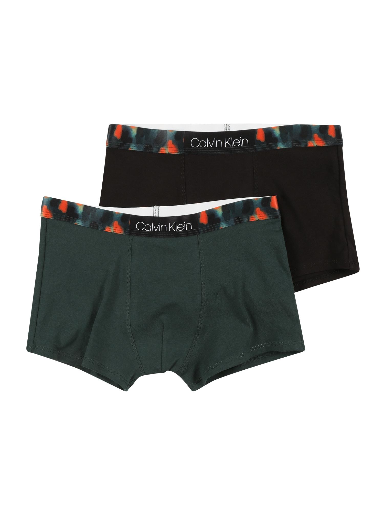 Calvin Klein Underwear Apatinės kelnaitės tamsiai žalia / juoda / šviesiai raudona / balta