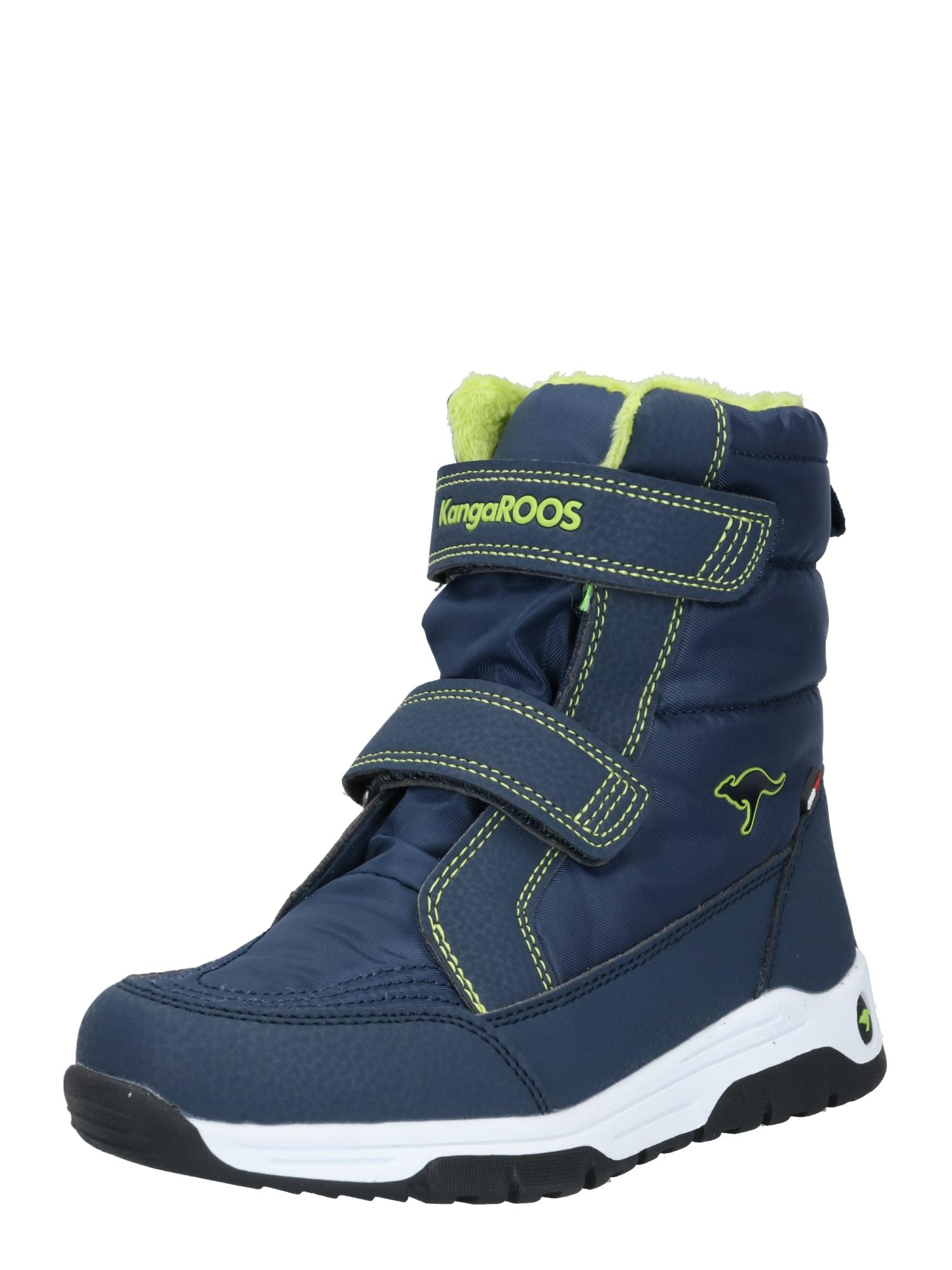 KangaROOS Sniego batai 'Major' žaliosios citrinos spalva / tamsiai mėlyna