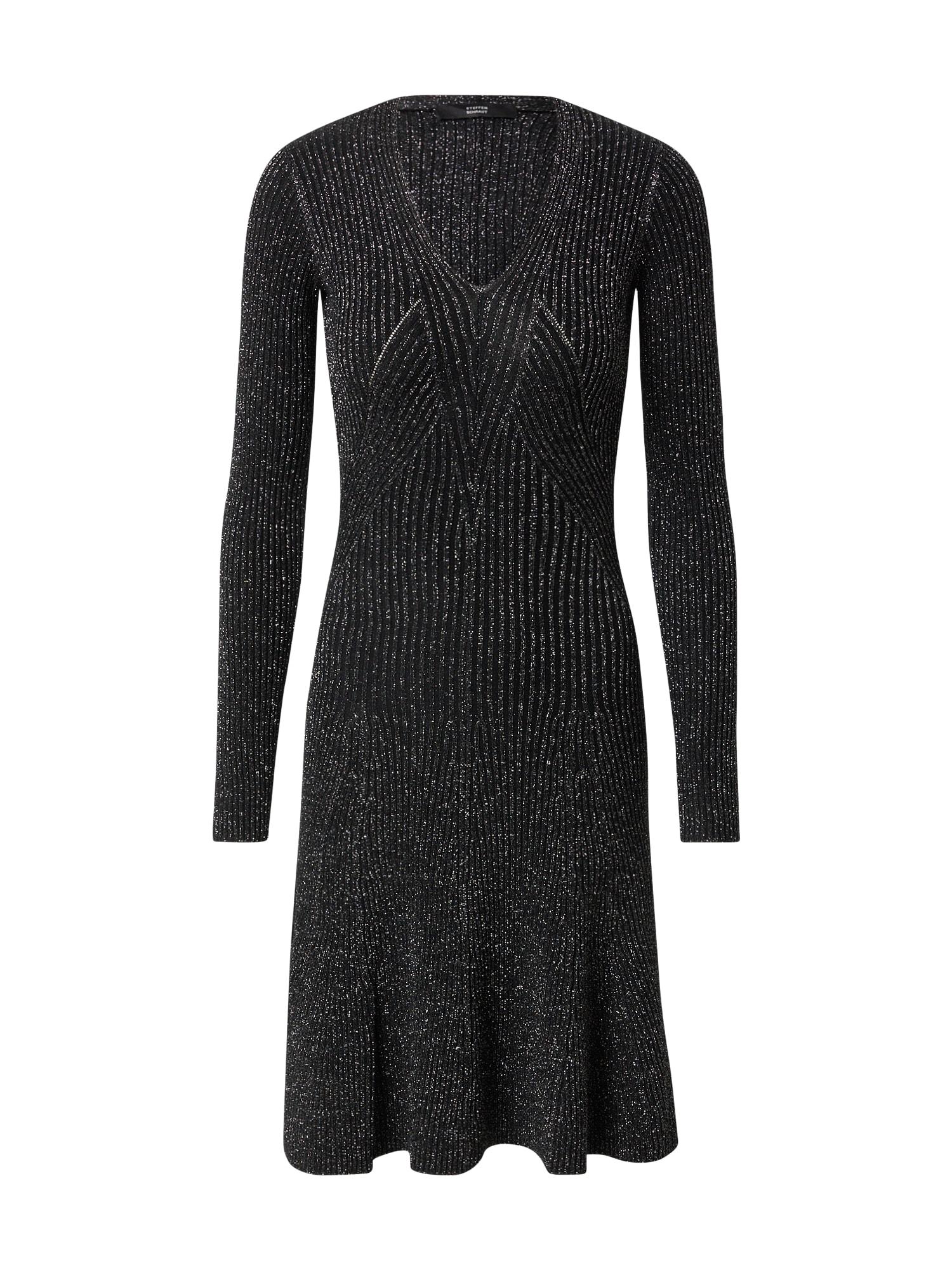 STEFFEN SCHRAUT Úpletové šaty 'Roxy'  černá / stříbrná
