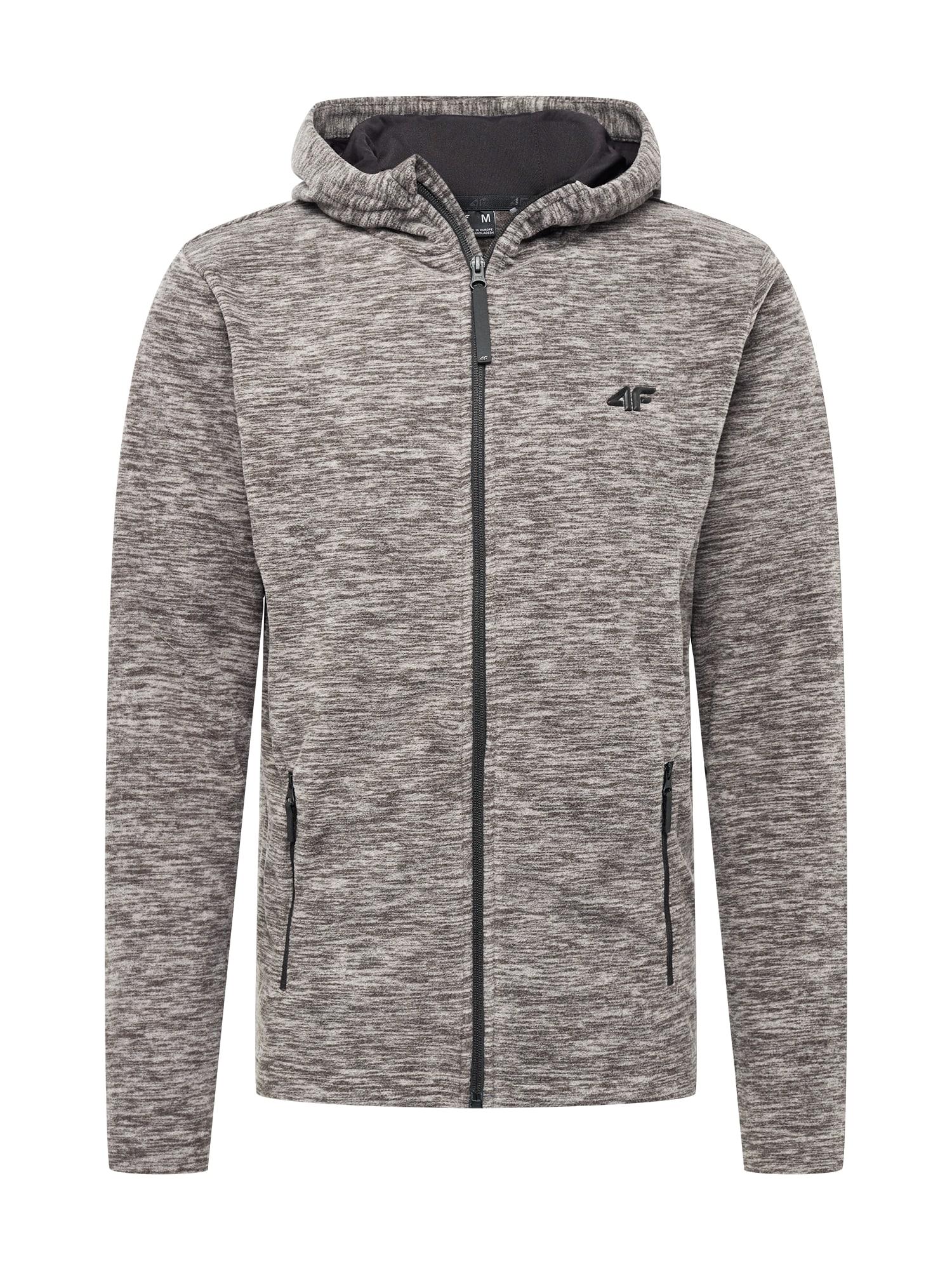 4F Funkcinis flisinis džemperis margai pilka / marga smėlio spalva