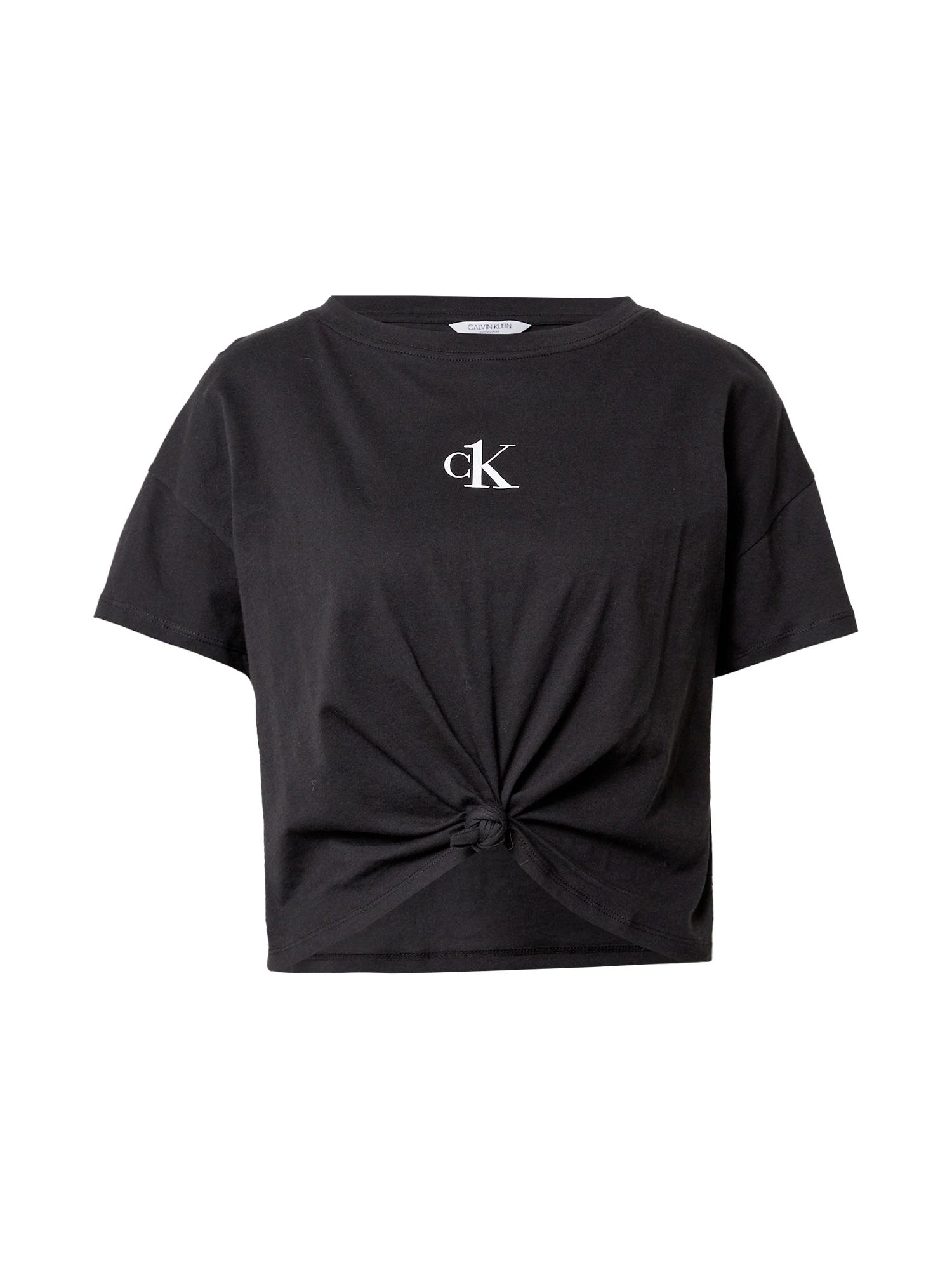Calvin Klein Swimwear Marškinėliai juoda / balta