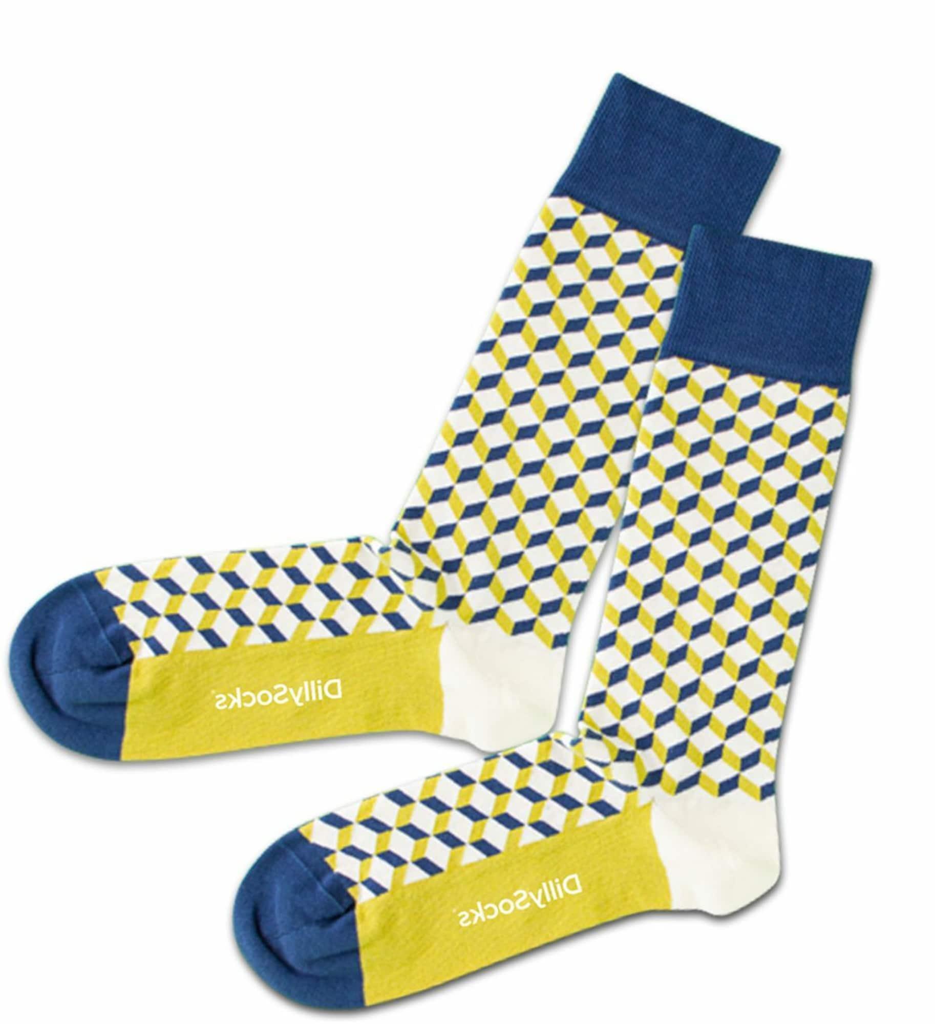 DillySocks Kojinės balta / mėlyna / geltona