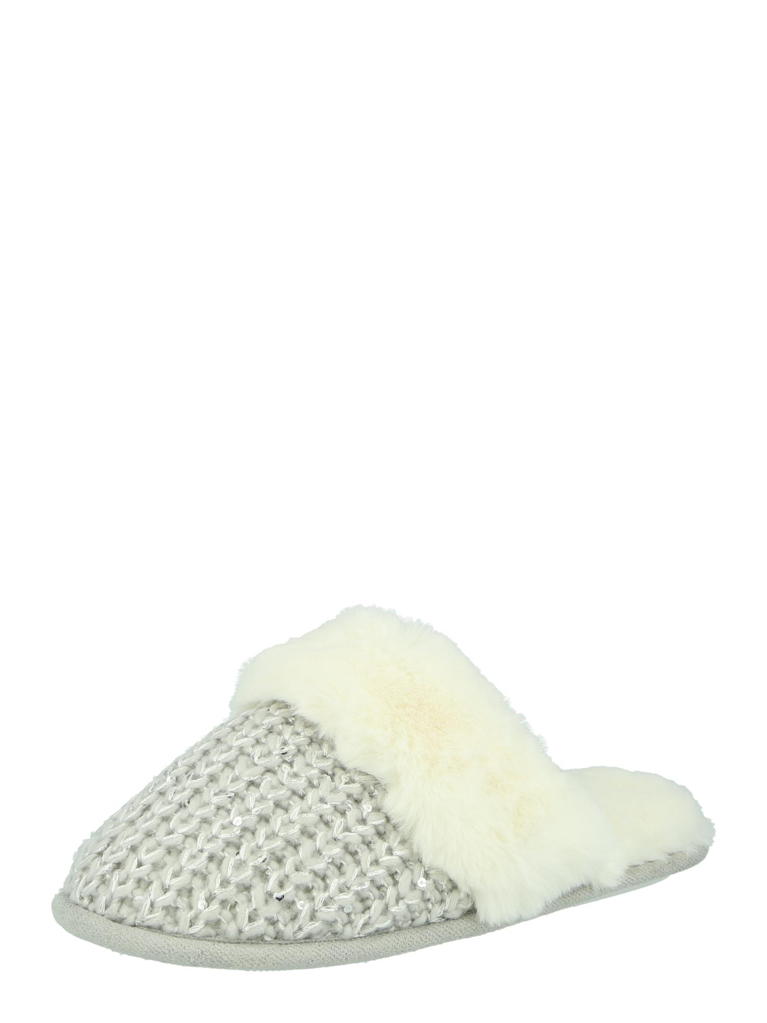 NEW LOOK Naminės šlepetės 'QUIN' šviesiai pilka / sidabrinė / balta