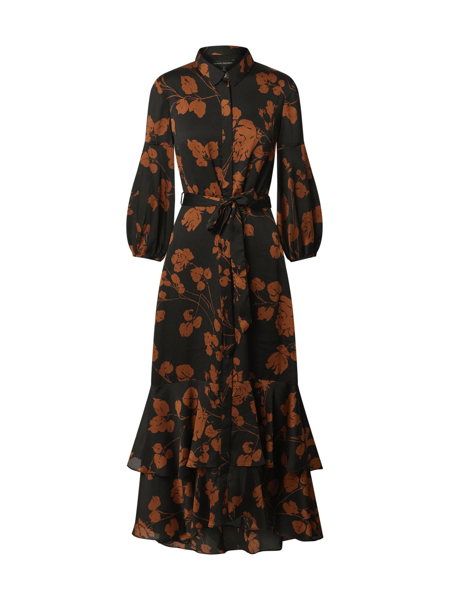 Banana Republic Košeľové šaty  čierna / hnedá
