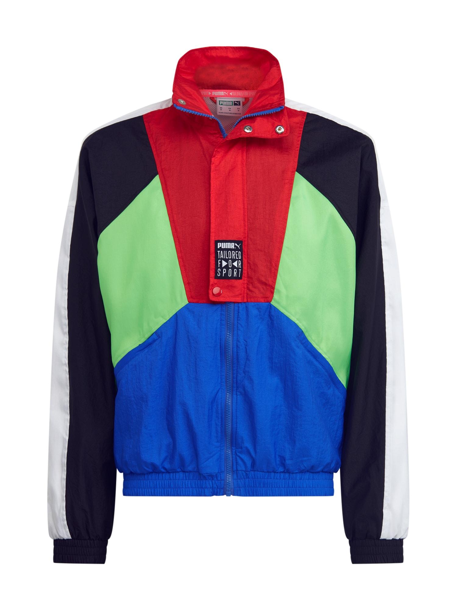 PUMA Prechodná bunda 'TFS OG Track Jacket'  čierna / modré / neónovozelená / červené