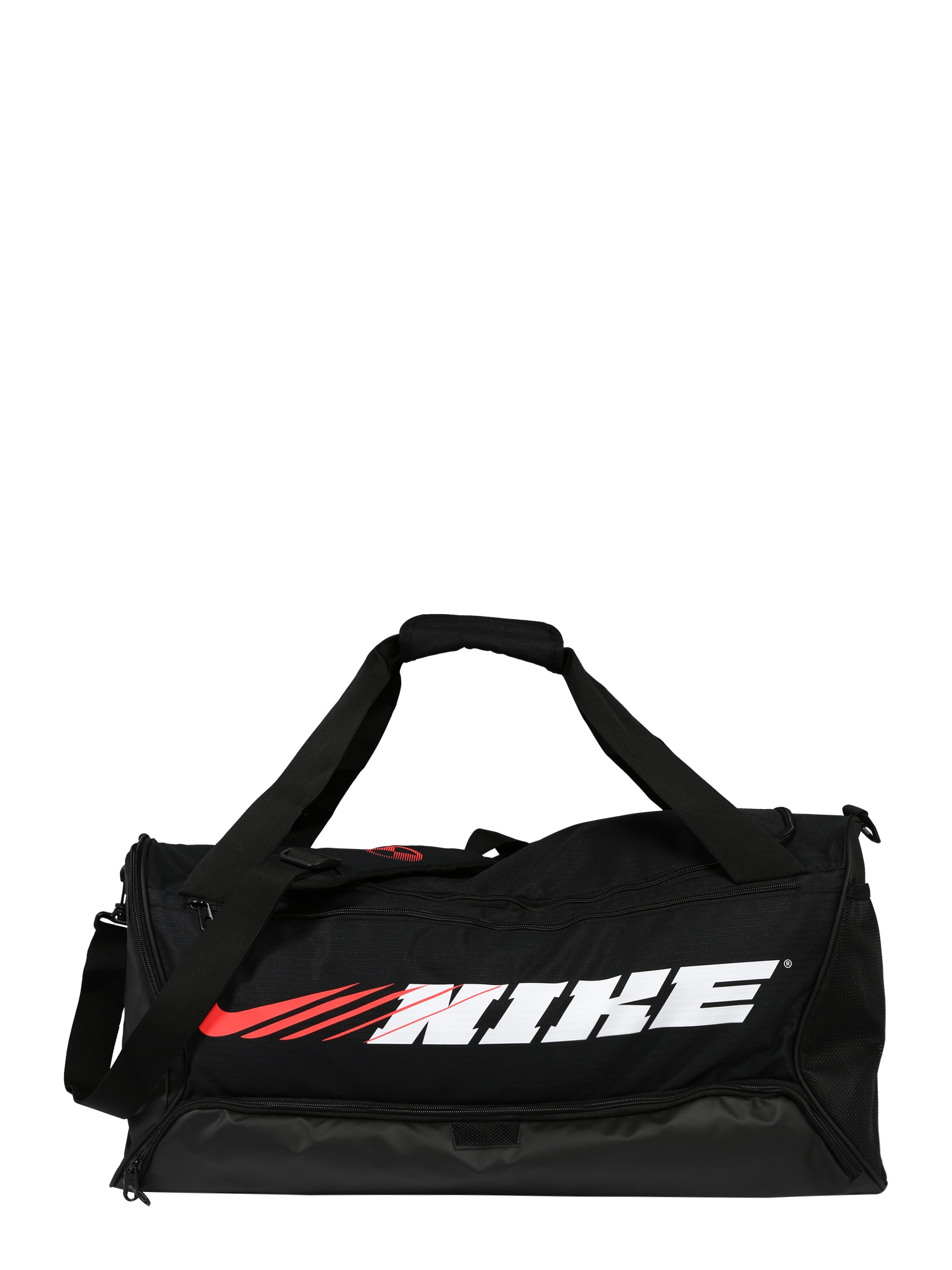 NIKE Sportinis krepšys 'Brasilia' balta / juoda / raudona
