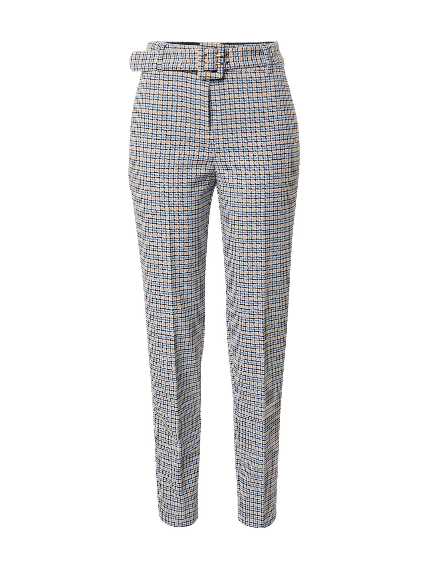Esprit Collection Kelnės su kantu pastelinė mėlyna / juoda / kremo / šviesiai oranžinė