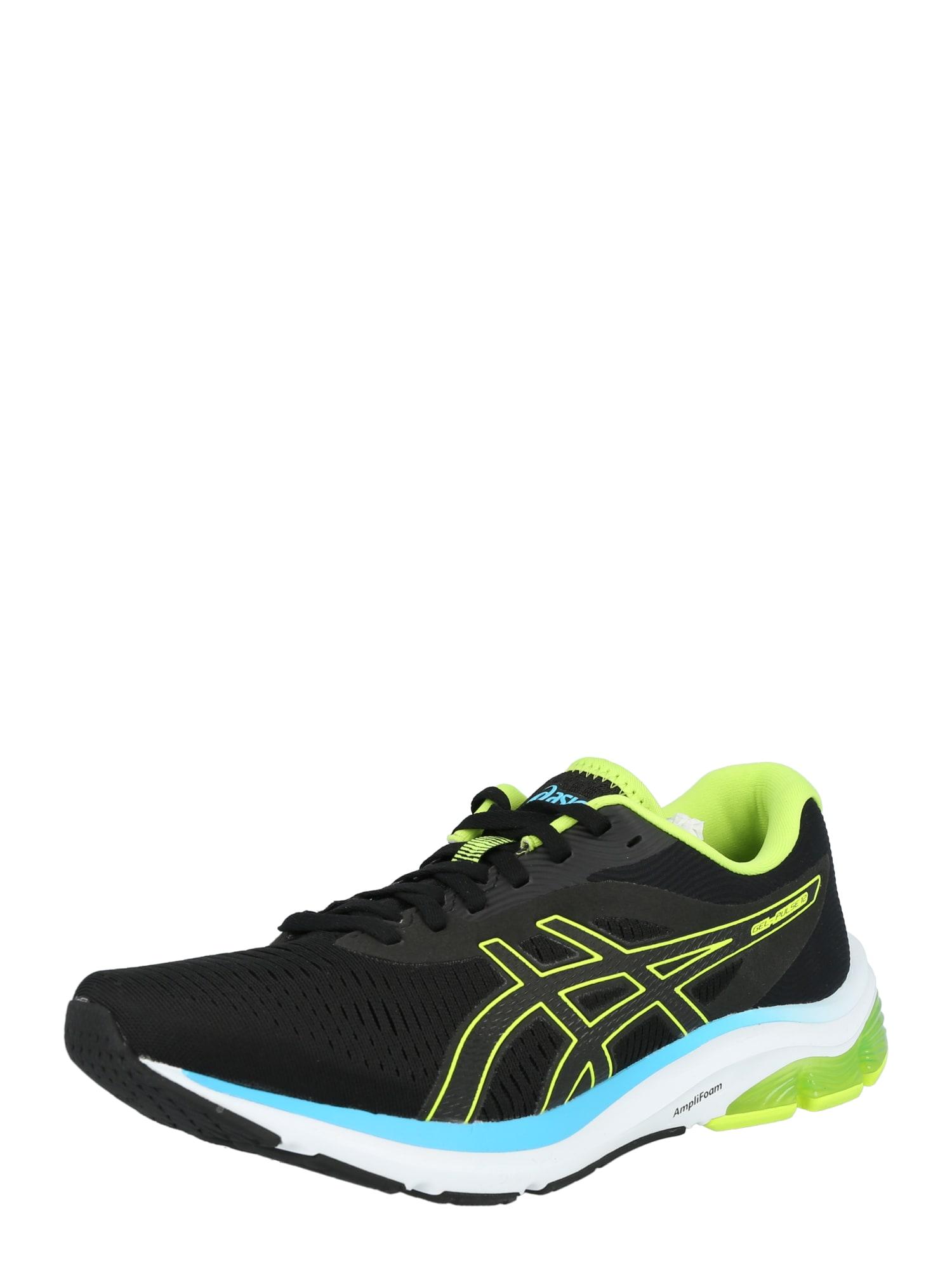 ASICS Bėgimo batai juoda / neoninė žalia / vandens spalva